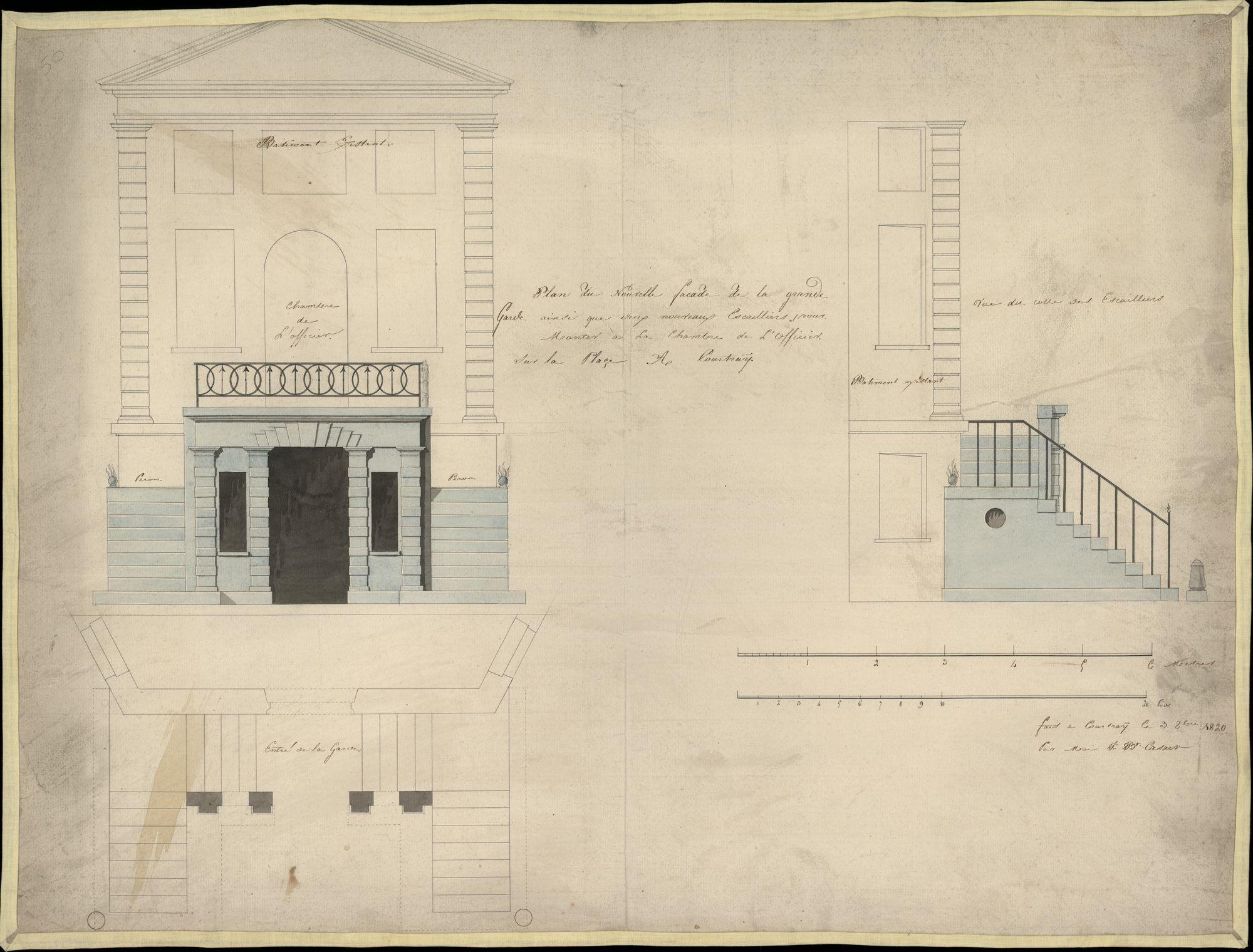 Bouwplan van de gevel van de Hoge Wacht in de Halletoren te Kortrijk, opgemaakt door J.B. Casaer; 1820