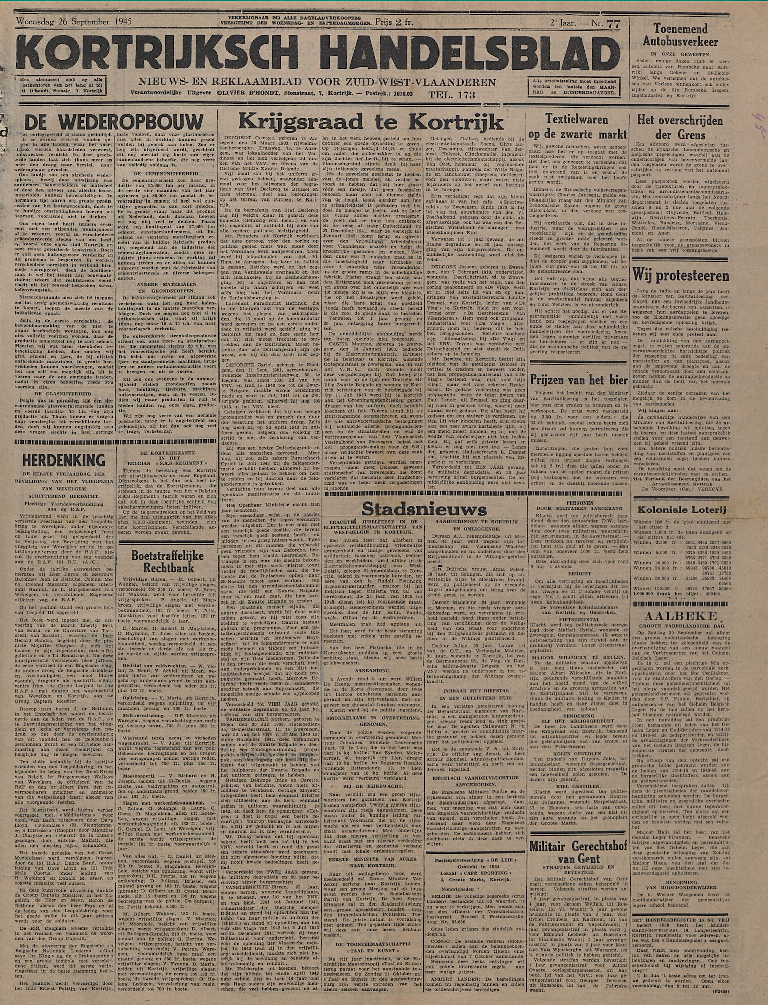 Kortrijksch Handelsblad 26 september 1945 Nr77 p1