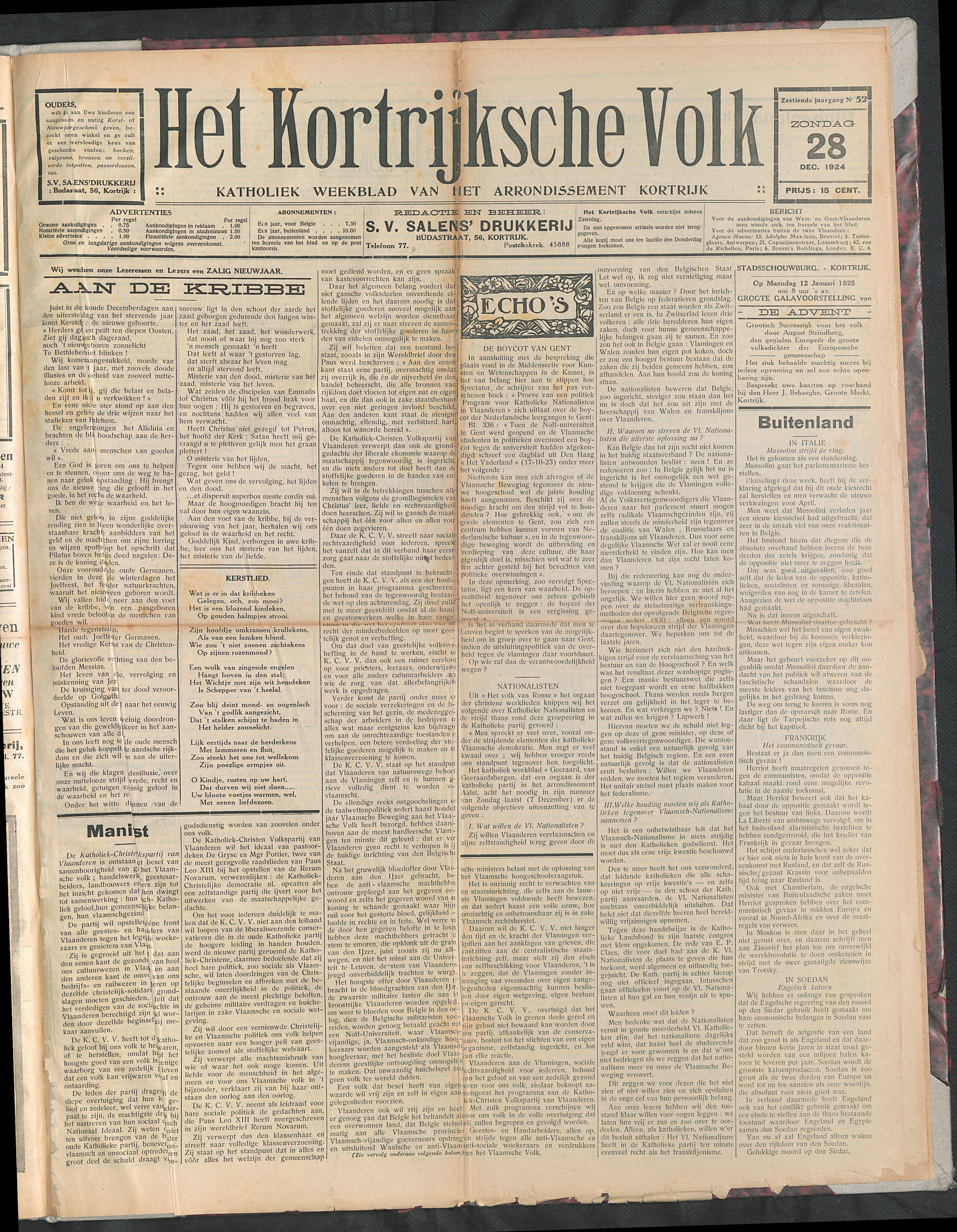 Het Kortrijksche Volk 1924-12-28 p1