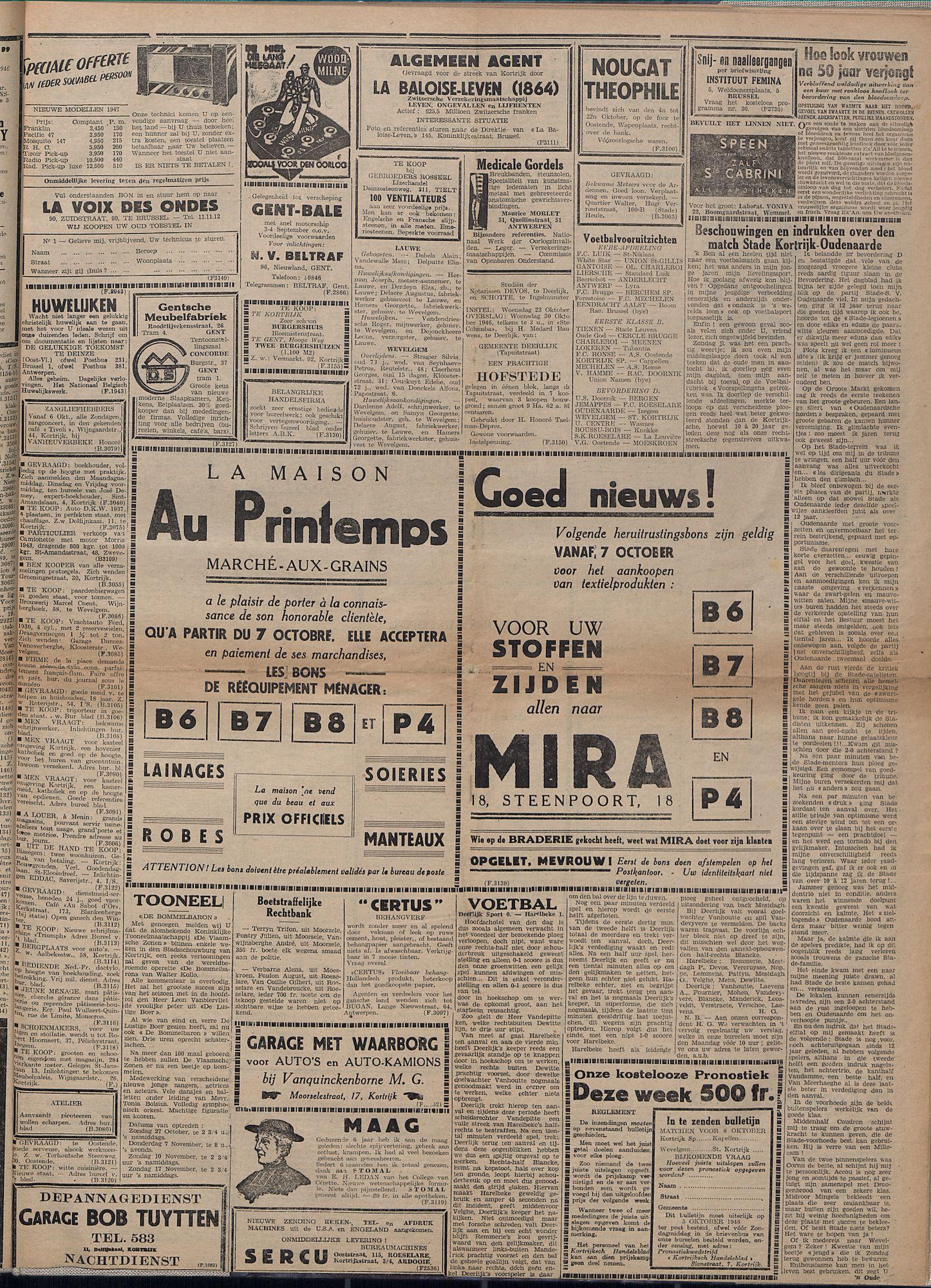 Kortrijksch Handelsblad 4 oktober 1946 Nr80 p3