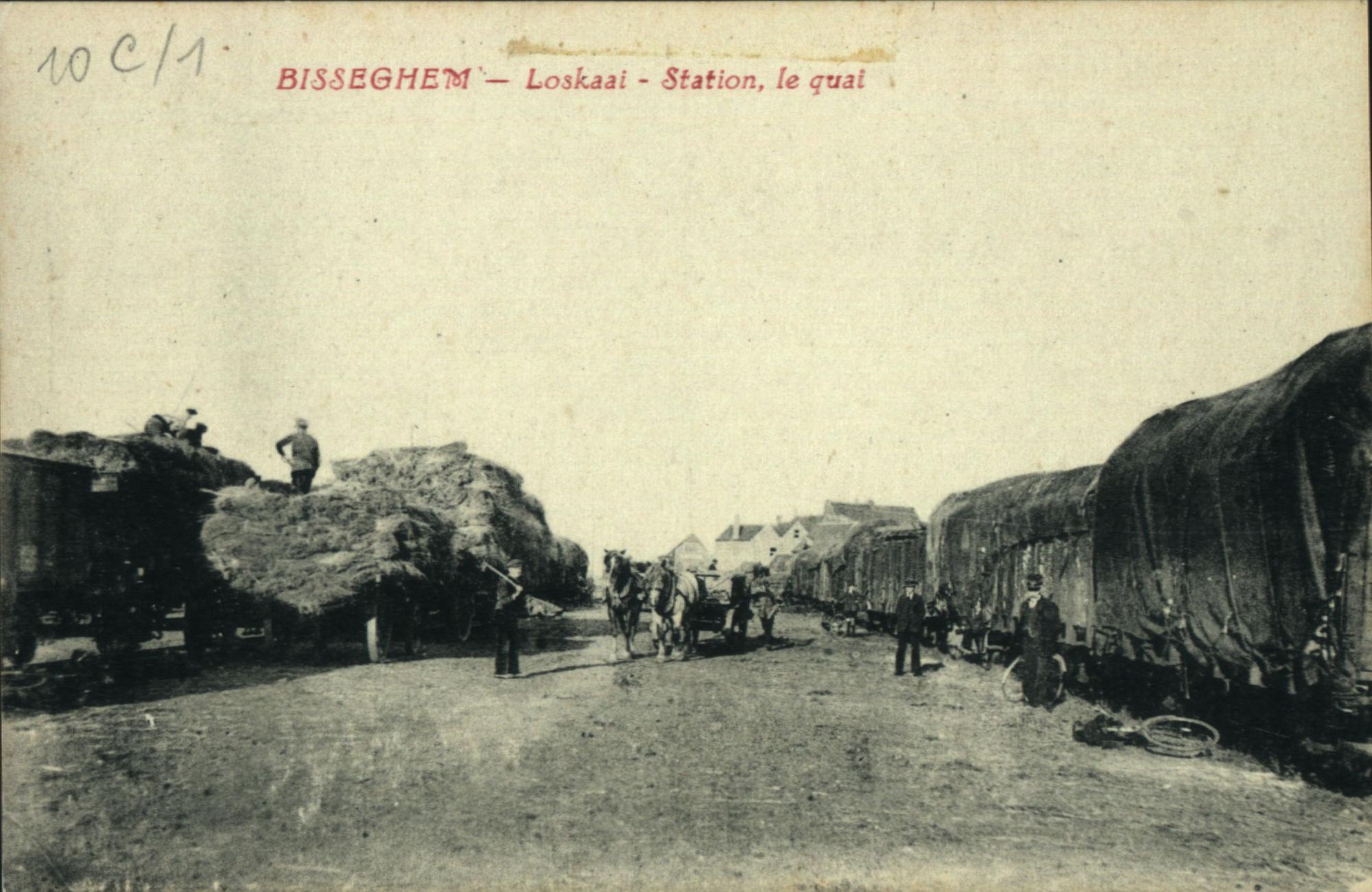 Het lossen van de wagons aan de loskaai te Bissegem.