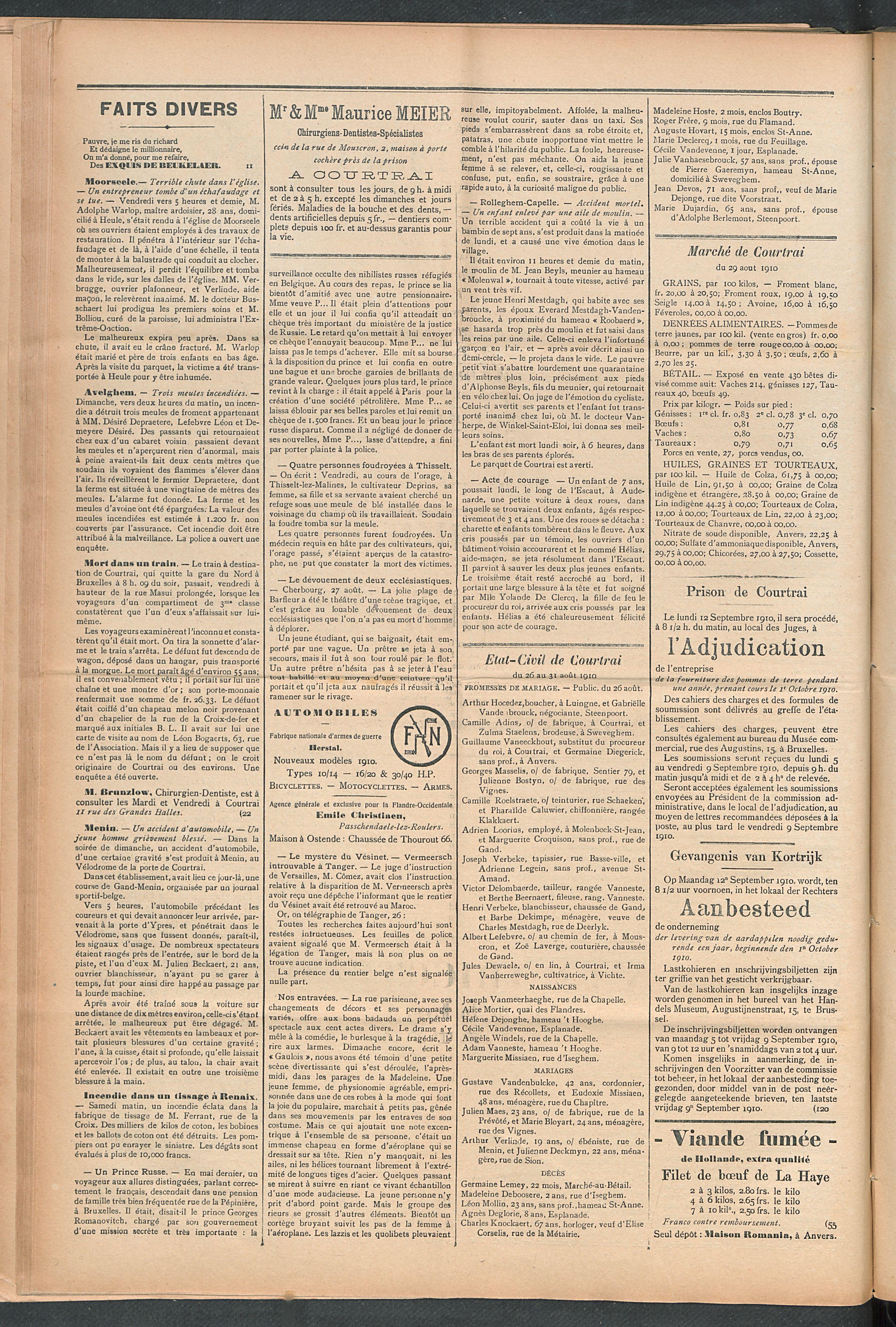 L'echo De Courtrai 1910-09-01 p2