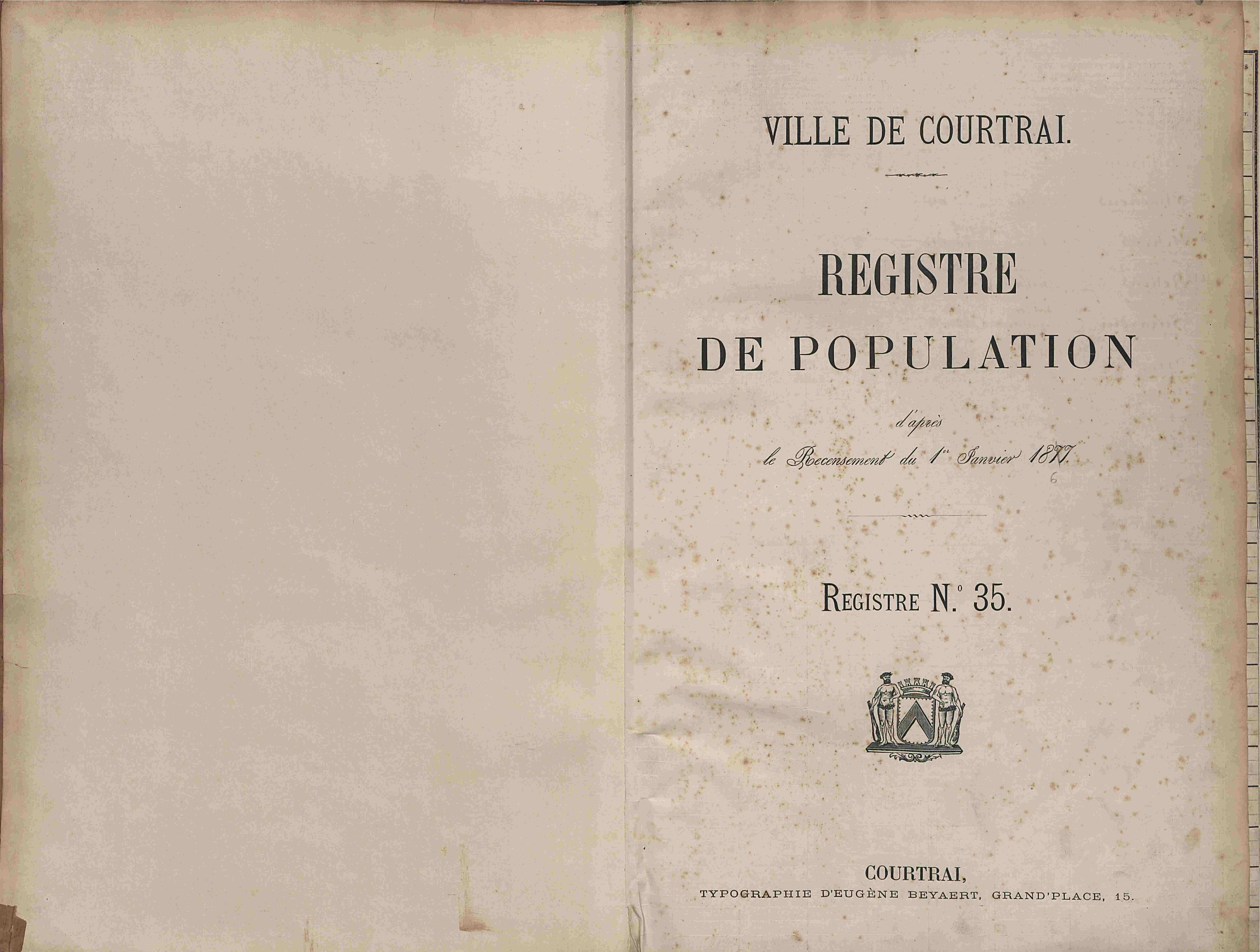 Bevolkingsregister Kortrijk 1866 boek 35