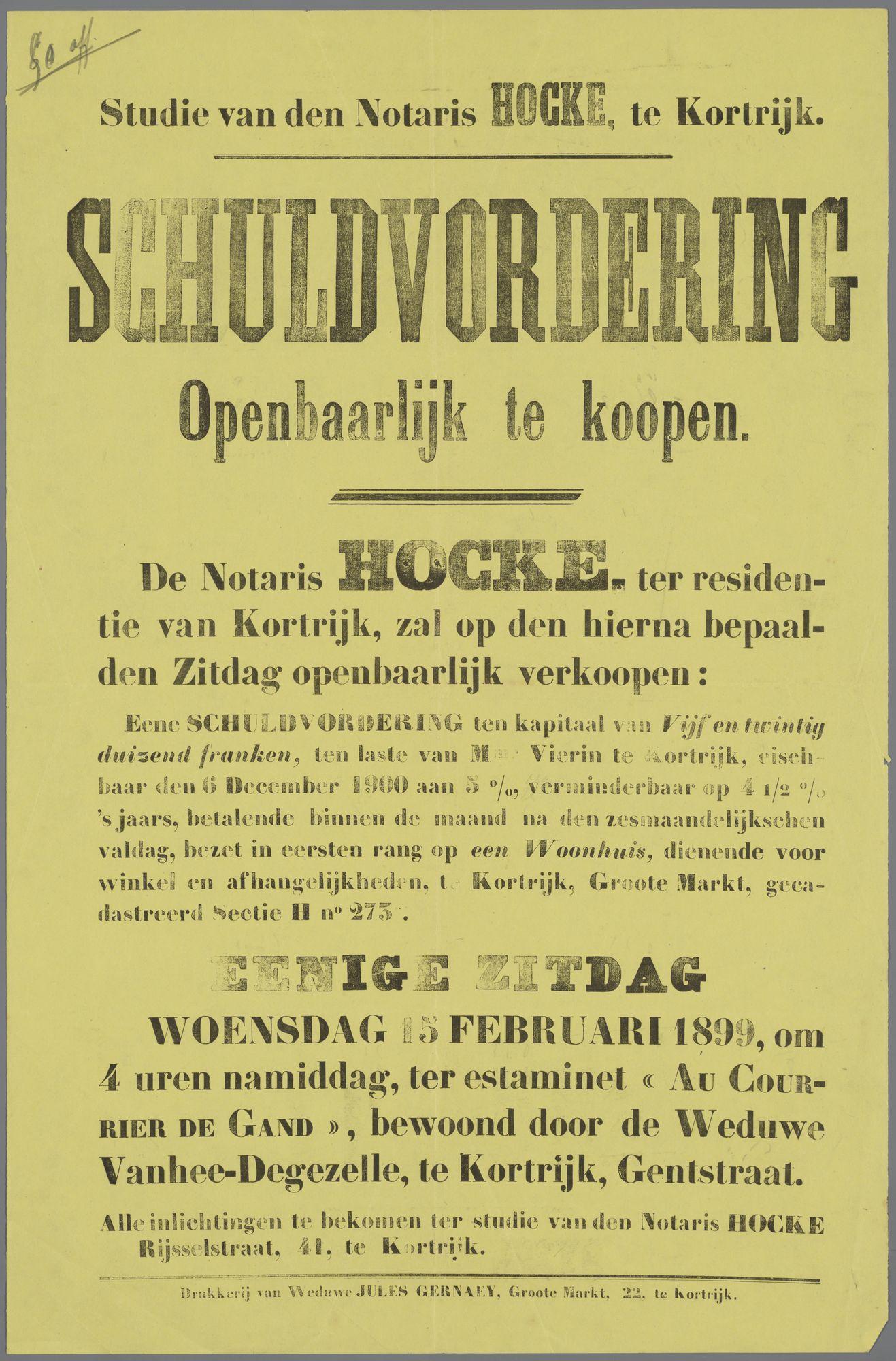 Verkoop schuldvordering Mr Vierin 1899