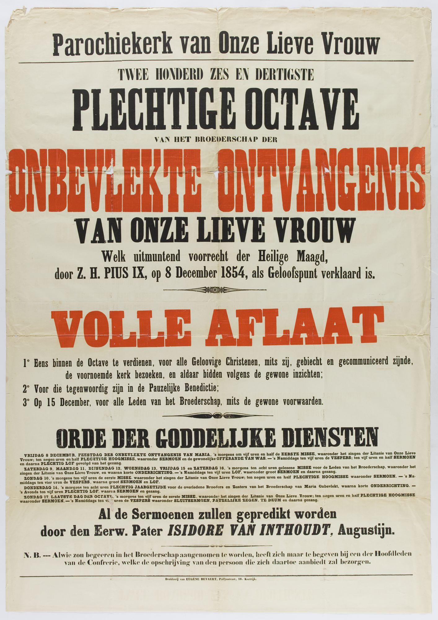 Plechtigheden Onze-Lieve-Vrouwekerk 1854