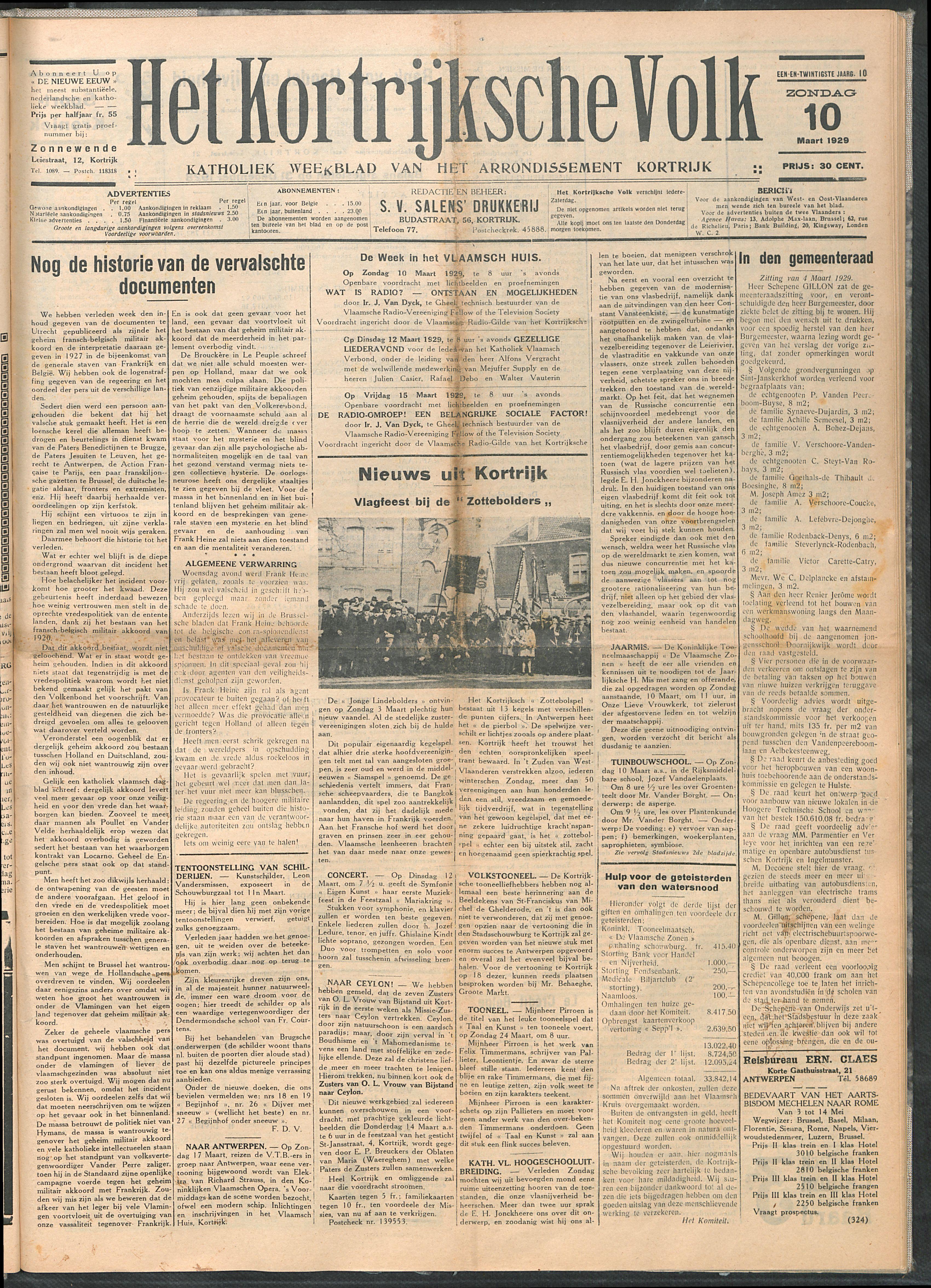 Het Kortrijksche Volk 1929-03-10 p1