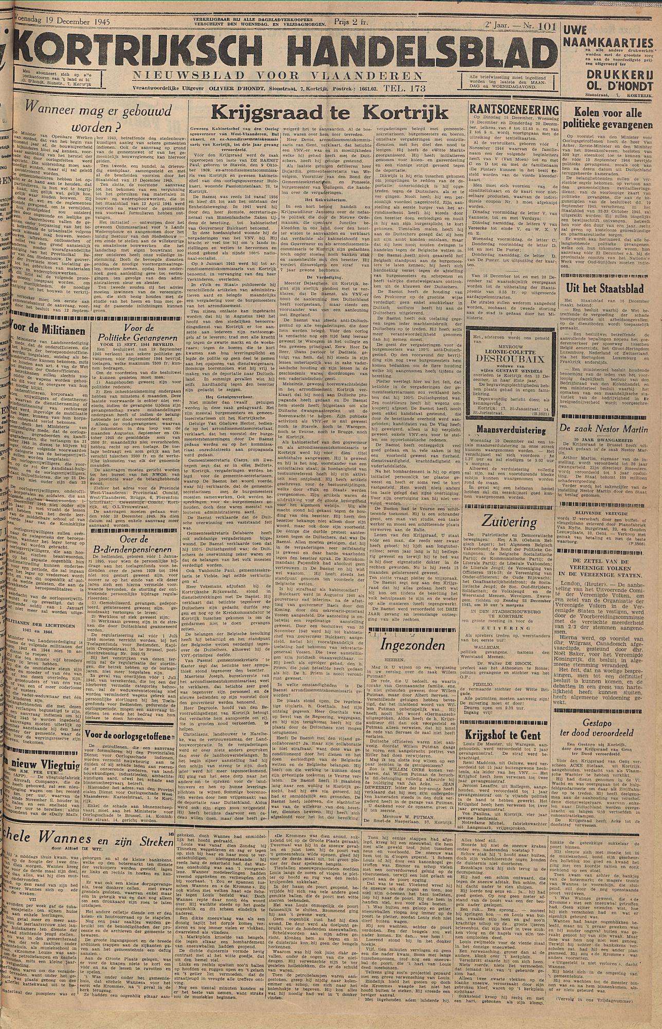 Kortrijksch Handelsblad 19 december 1945 Nr101 p1