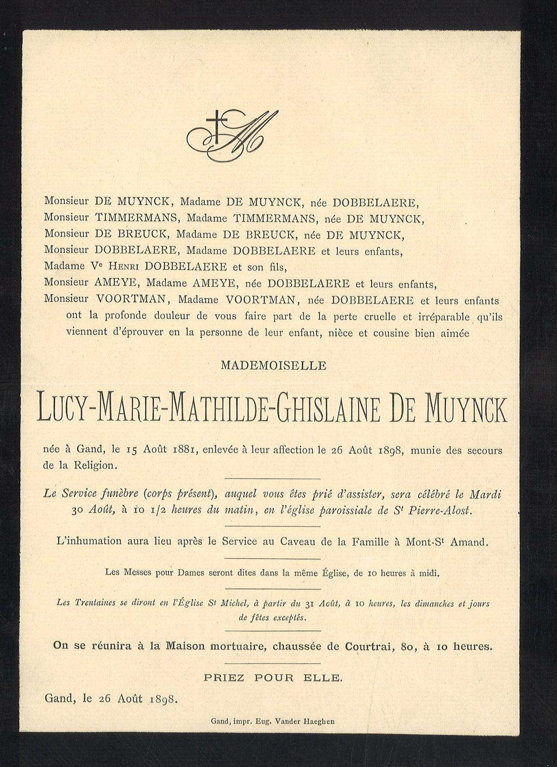 Lucy-Marie-Mathilde-Ghislaine De Muynck