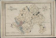 Kaart van de stad Kortrijk en Kortrijk-buiten, 1826