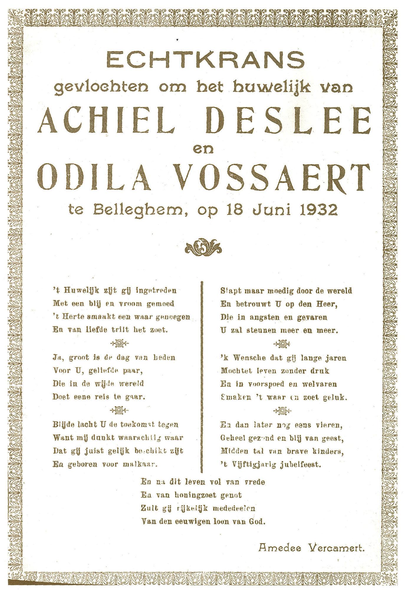 Huwelijksgedicht van Amedee Vercamert 1932