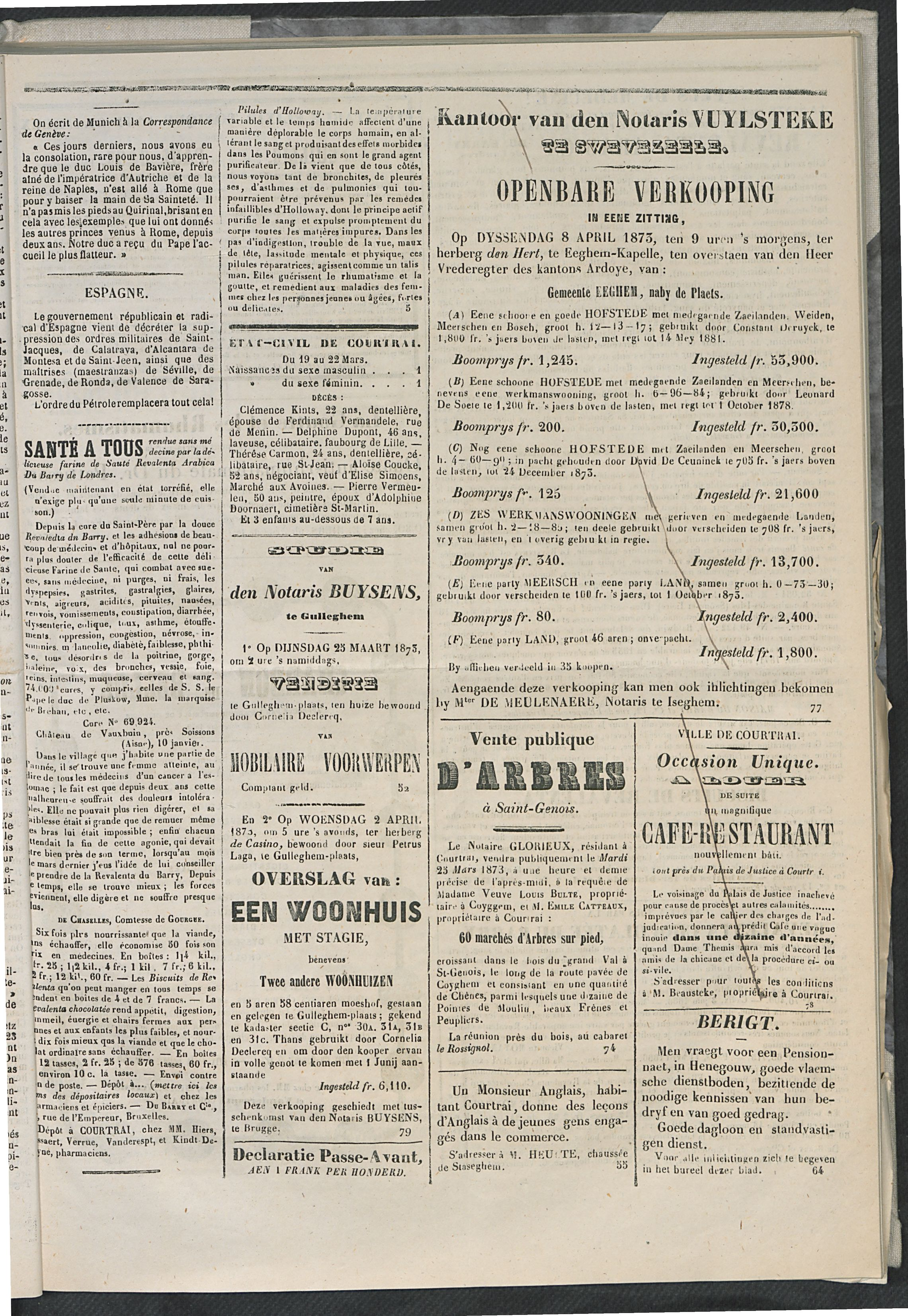 L'echo De Courtrai 1873-03-23 p3