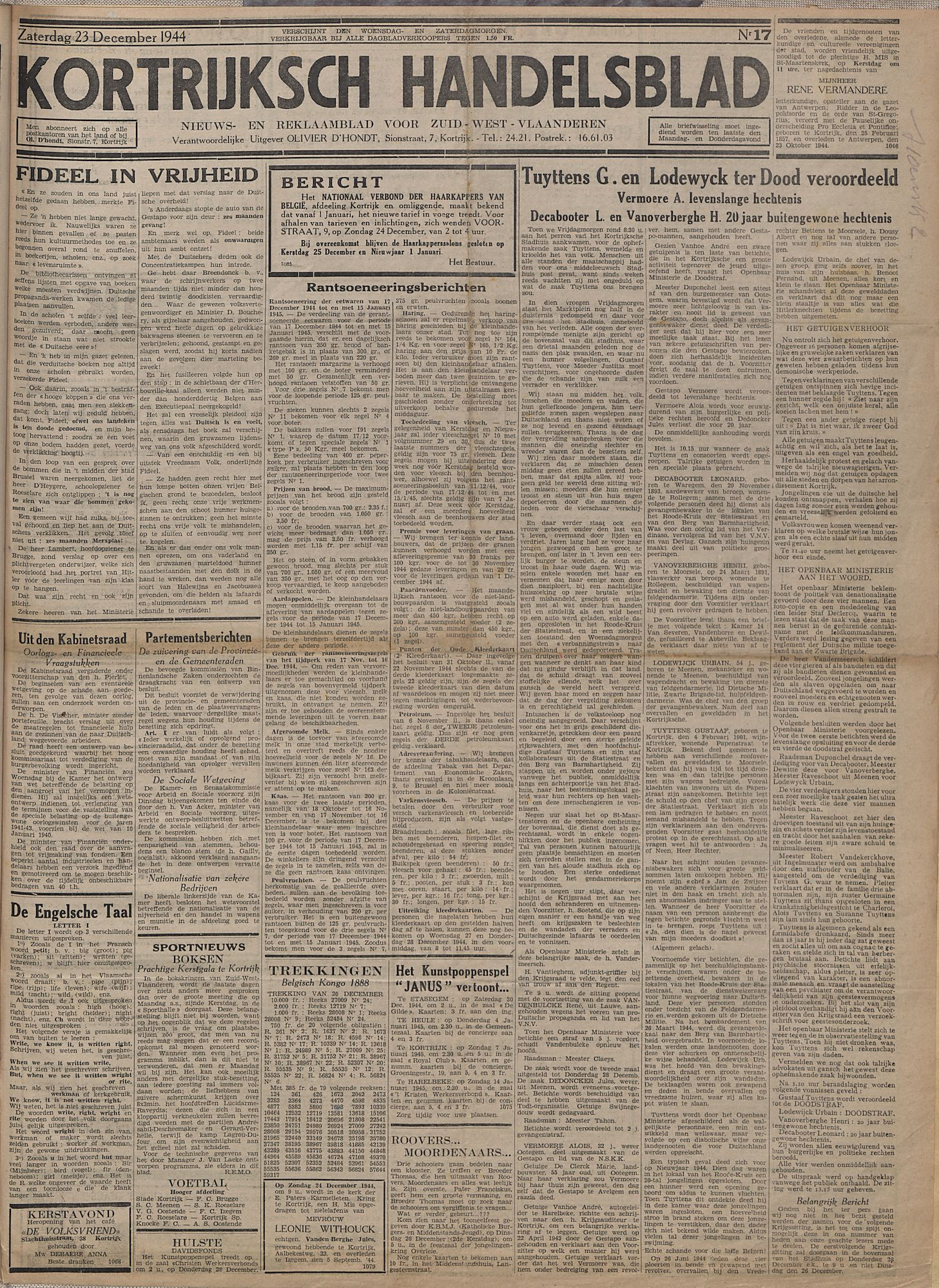 Kortrijksch Handelsblad 23 december 1944 Nr17 p1