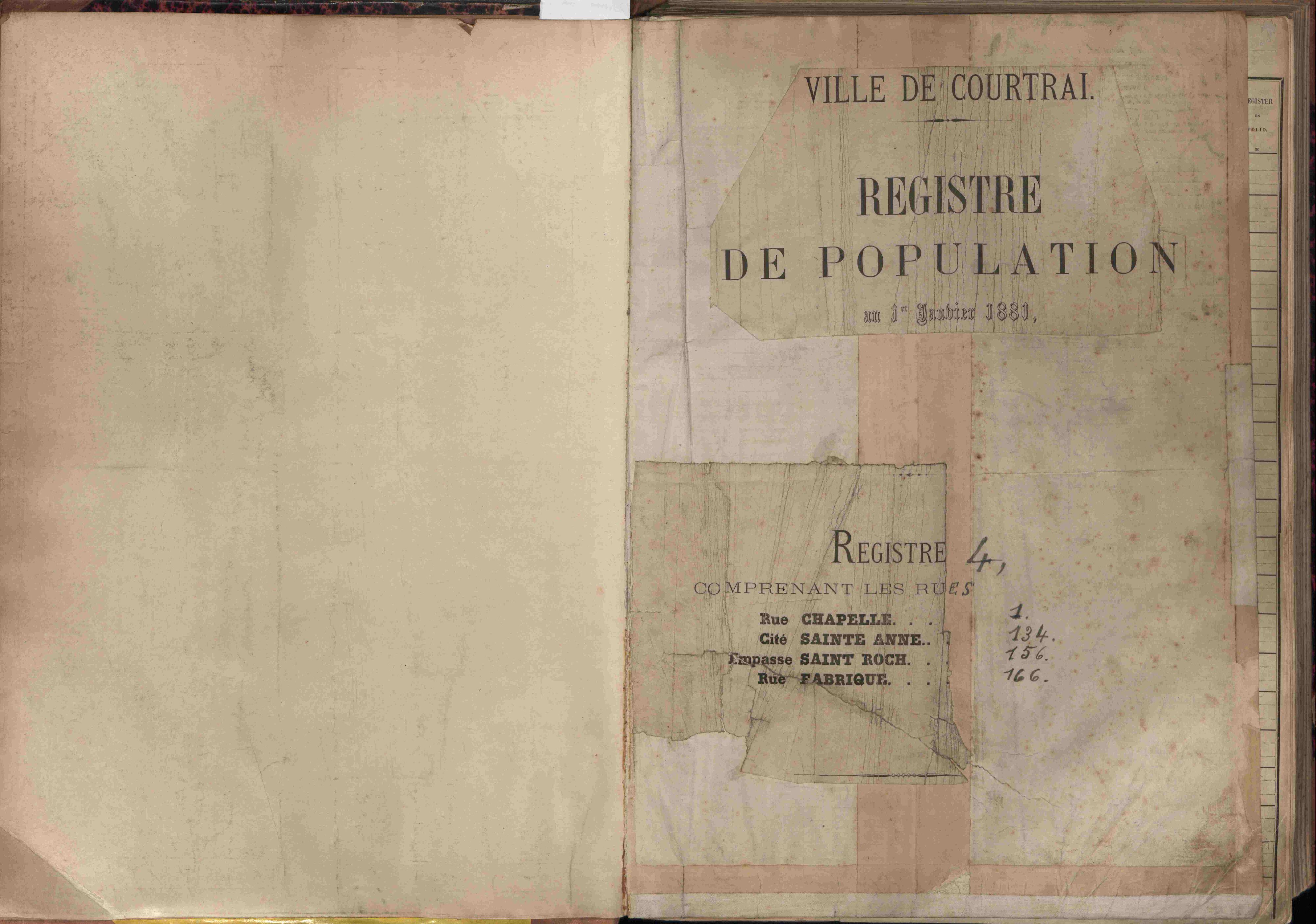Bevolkingsregister Kortrijk 1880 boek 4