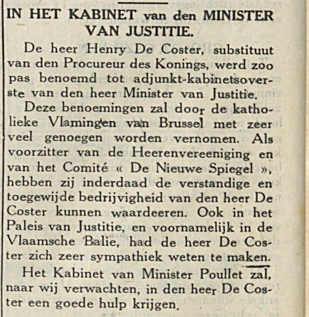 IN HET KABINET van den MINISTER VAN JUSTITIE