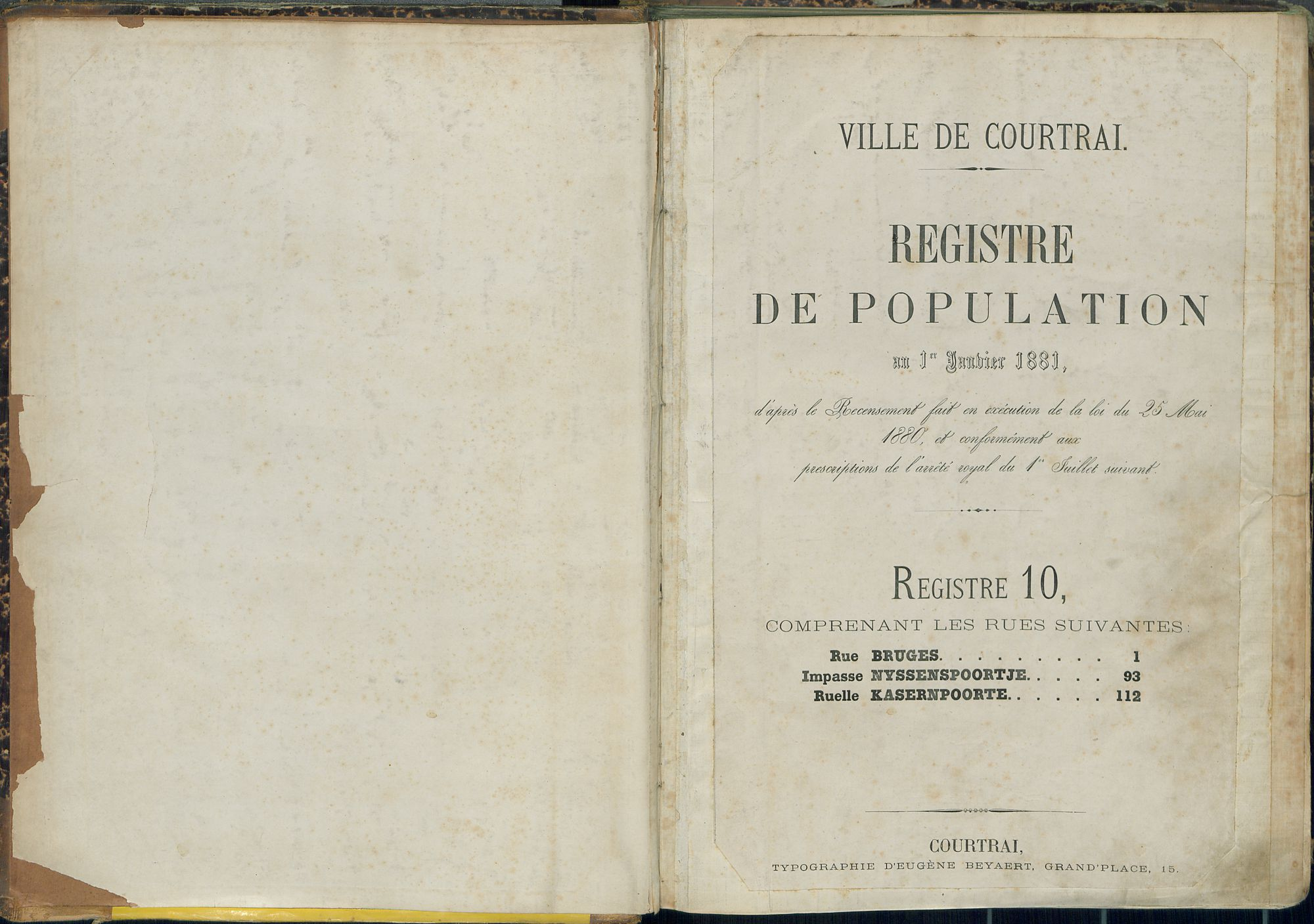 Bevolkingsregister Kortrijk 1880 boek 10