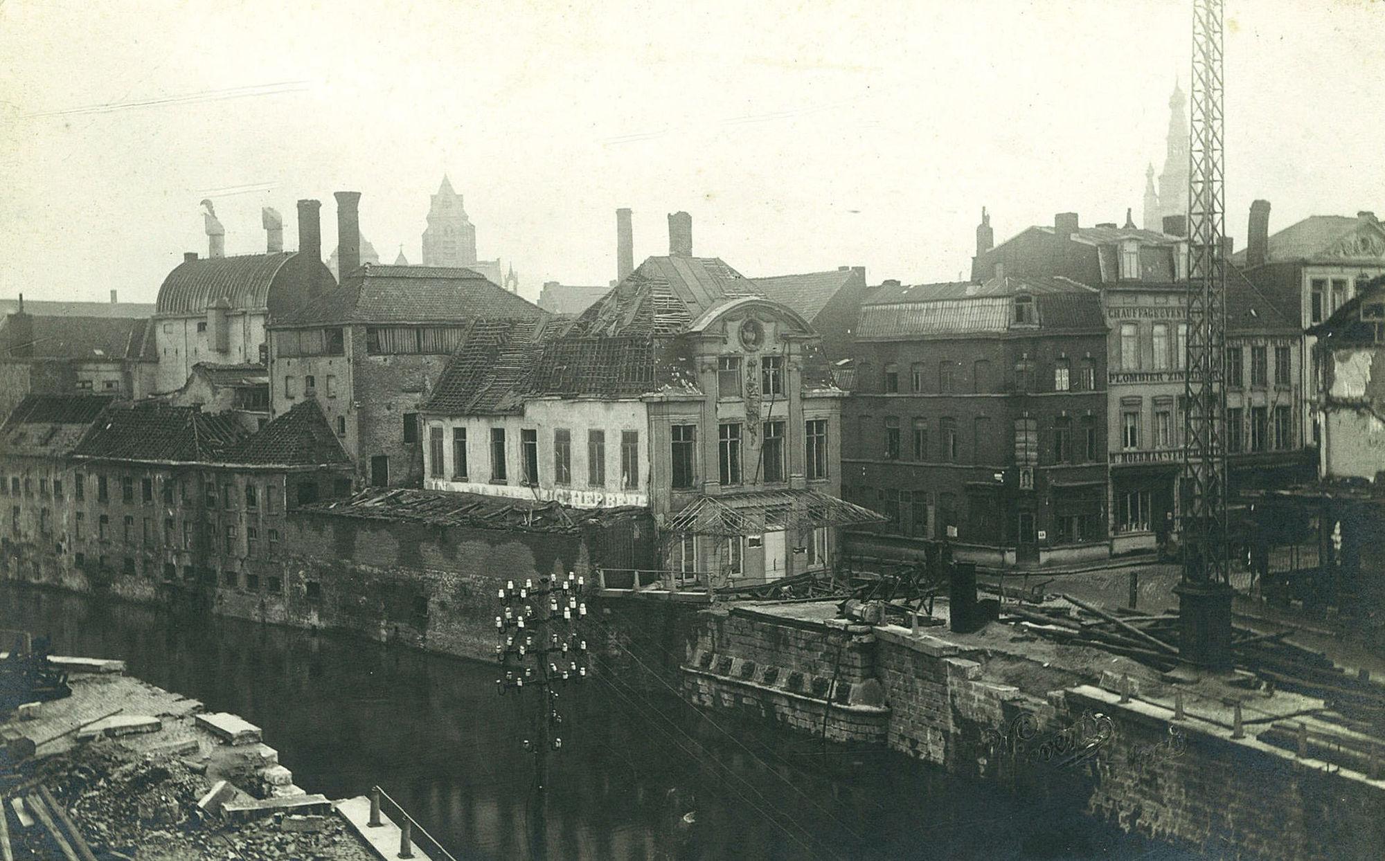 Vernieling Leiebrug in 1918