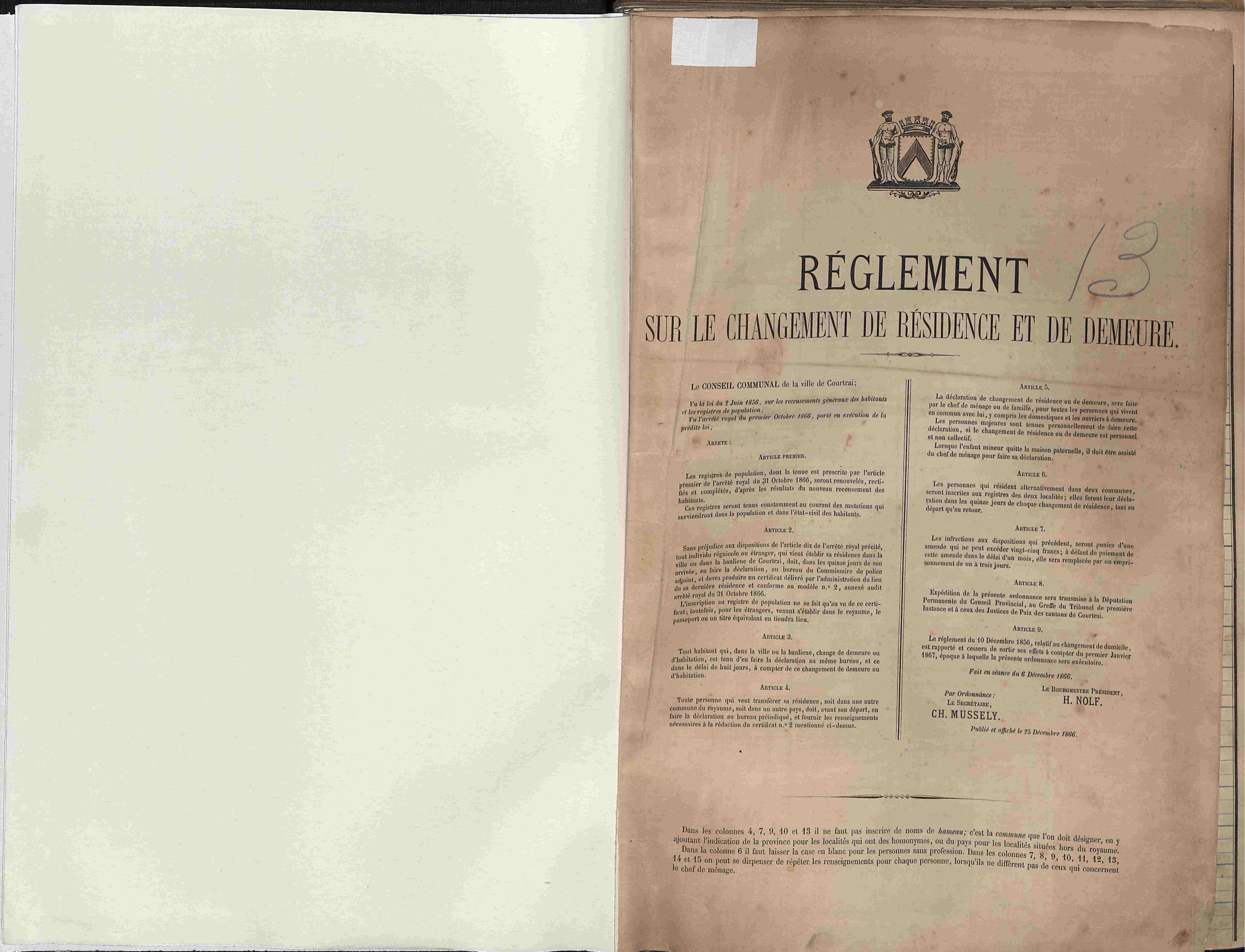 Bevolkingsregister Kortrijk 1866 boek 13