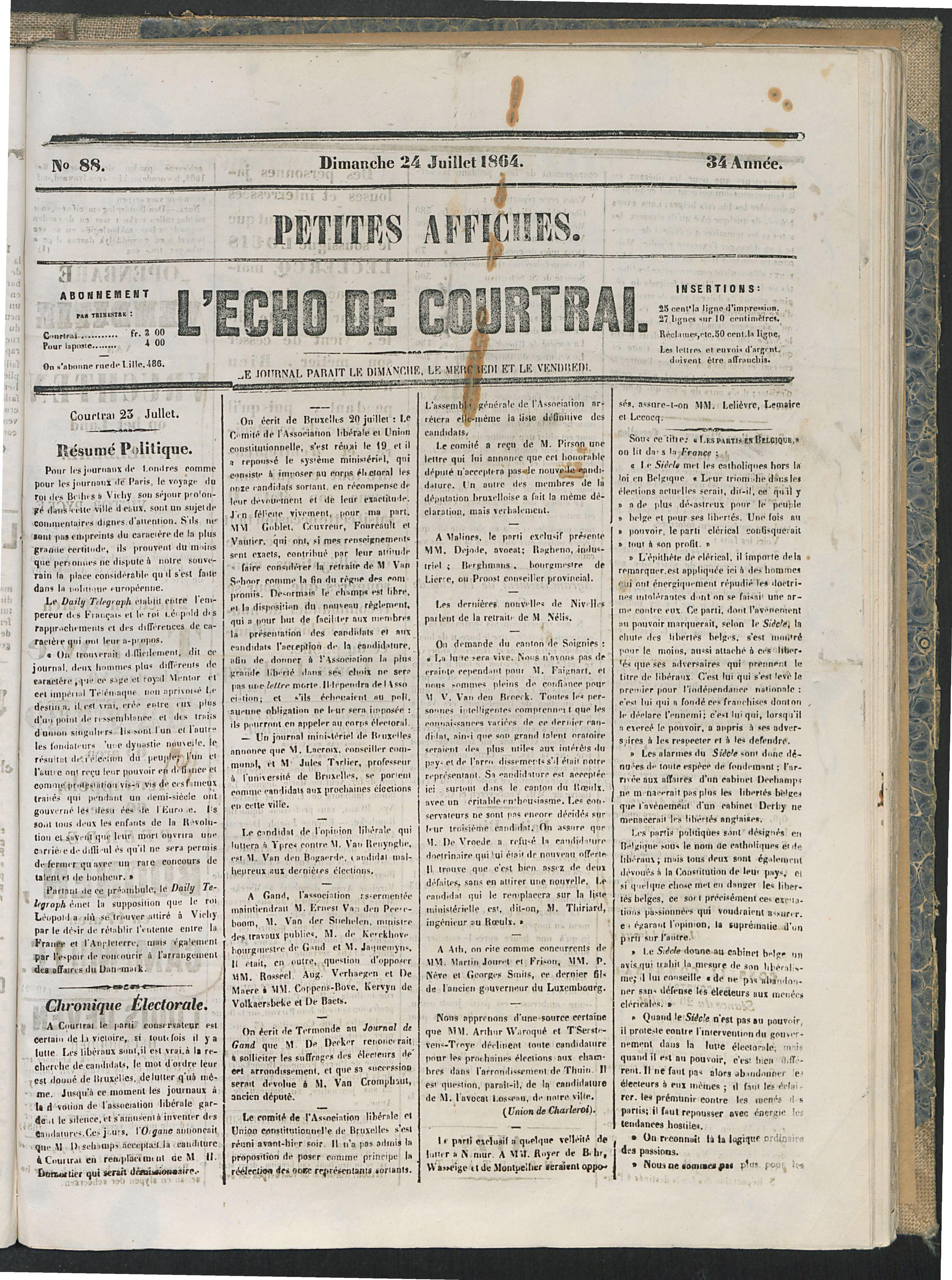L'echo De Courtrai 1864-07-24 p1