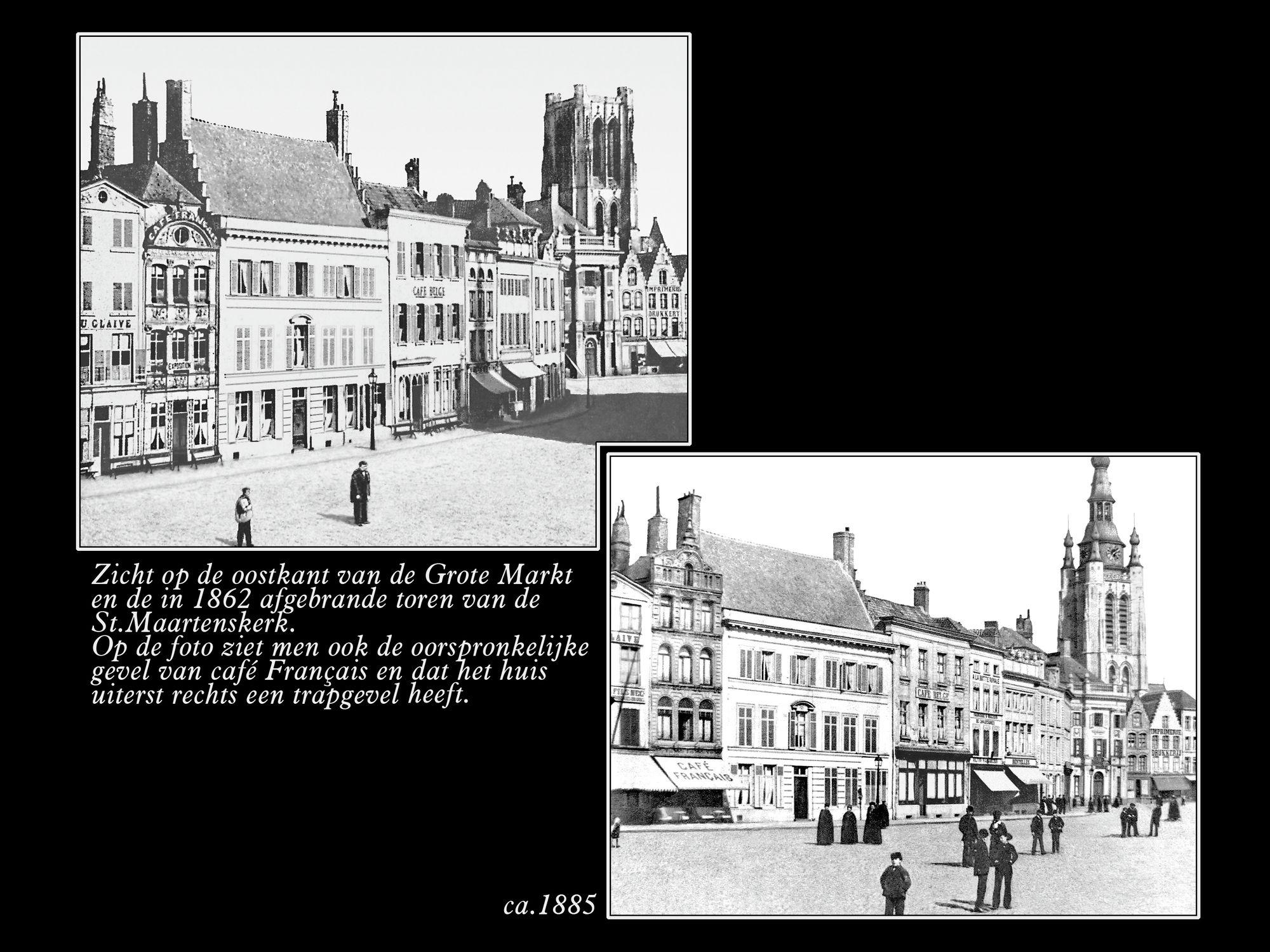 Oostkant Grote Markt 1862 ca1885