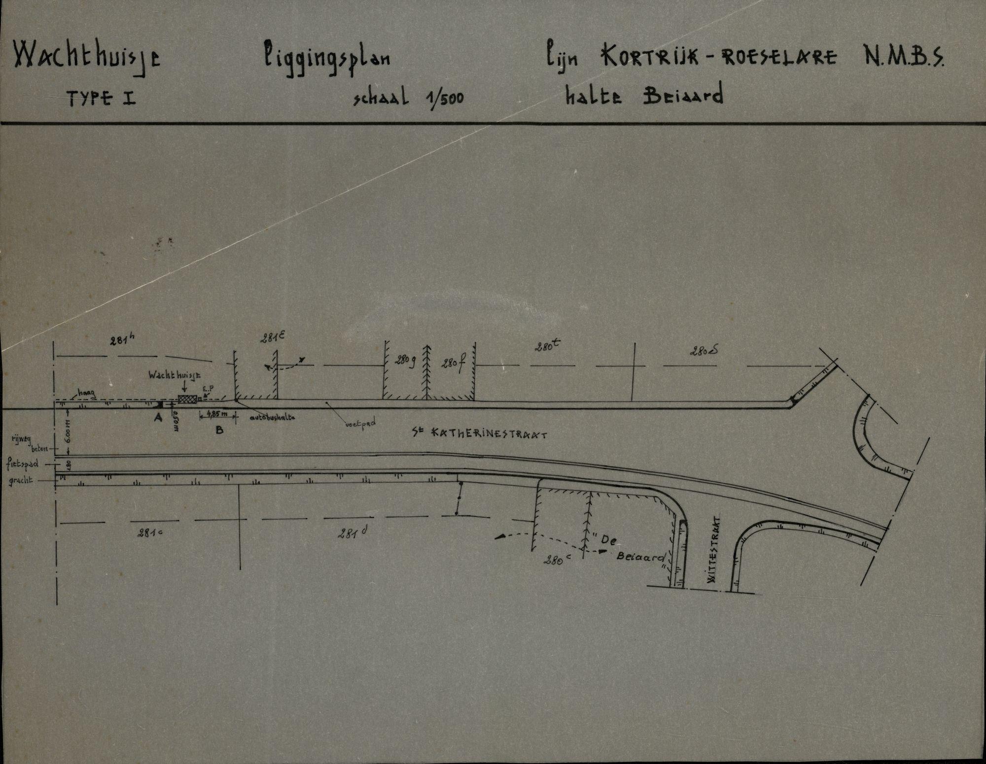 Plan van de bushalte Beiaard op de lijn Kortrijk-Roeselare te Heule, 2de helft 20ste eeuw