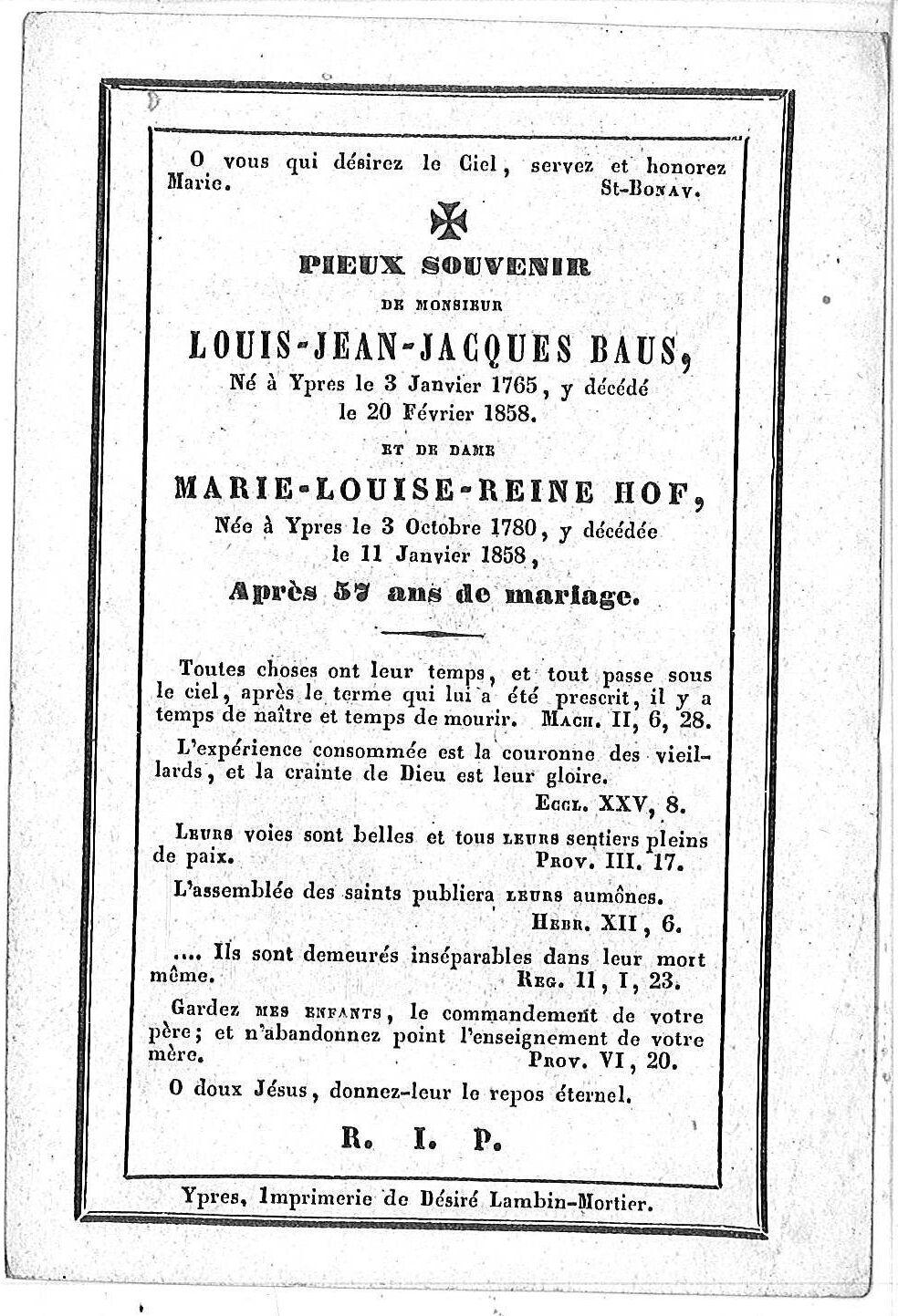 Louis-Jean-Jacques Baus en Marie-Louise-Reine Hof