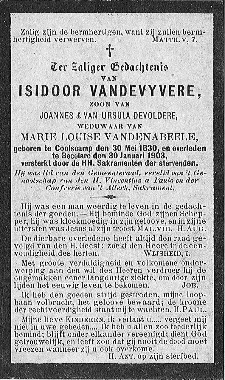 Isidoor Vandevyvere.