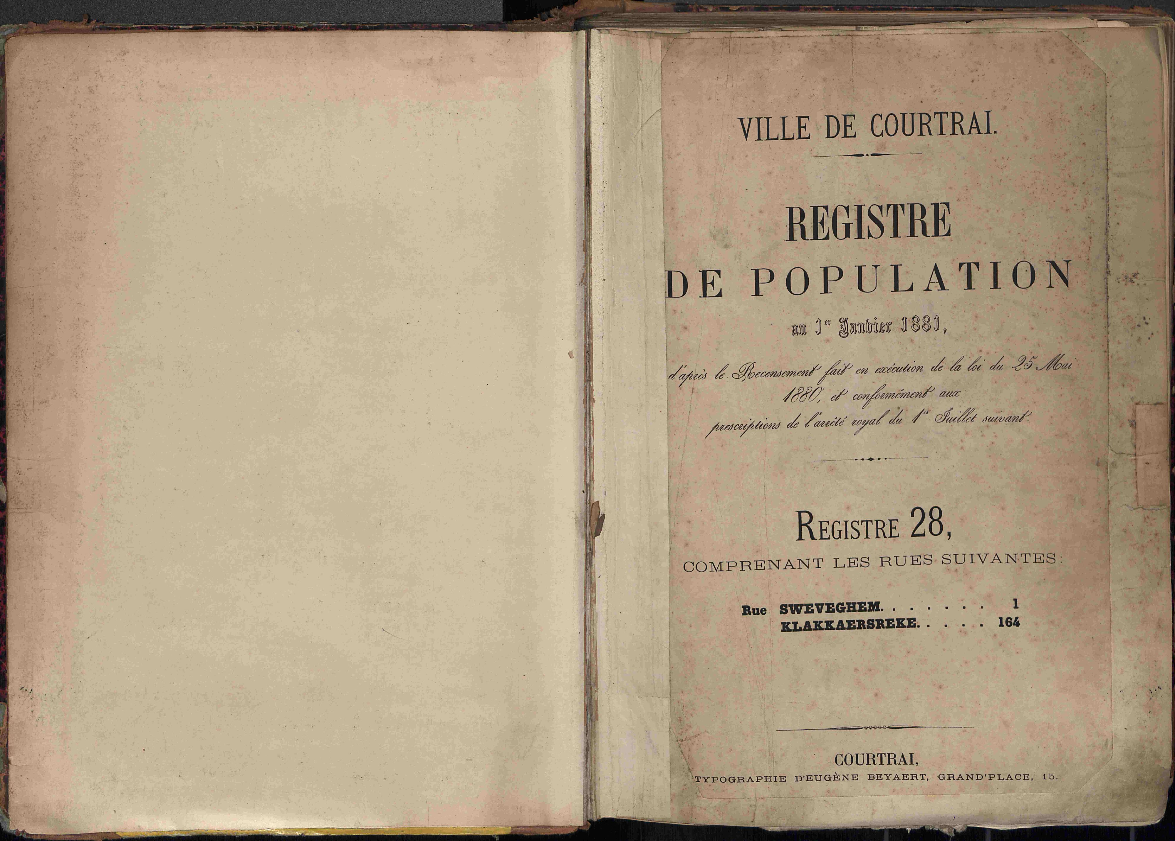 Bevolkingsregister Kortrijk 1880 boek 28