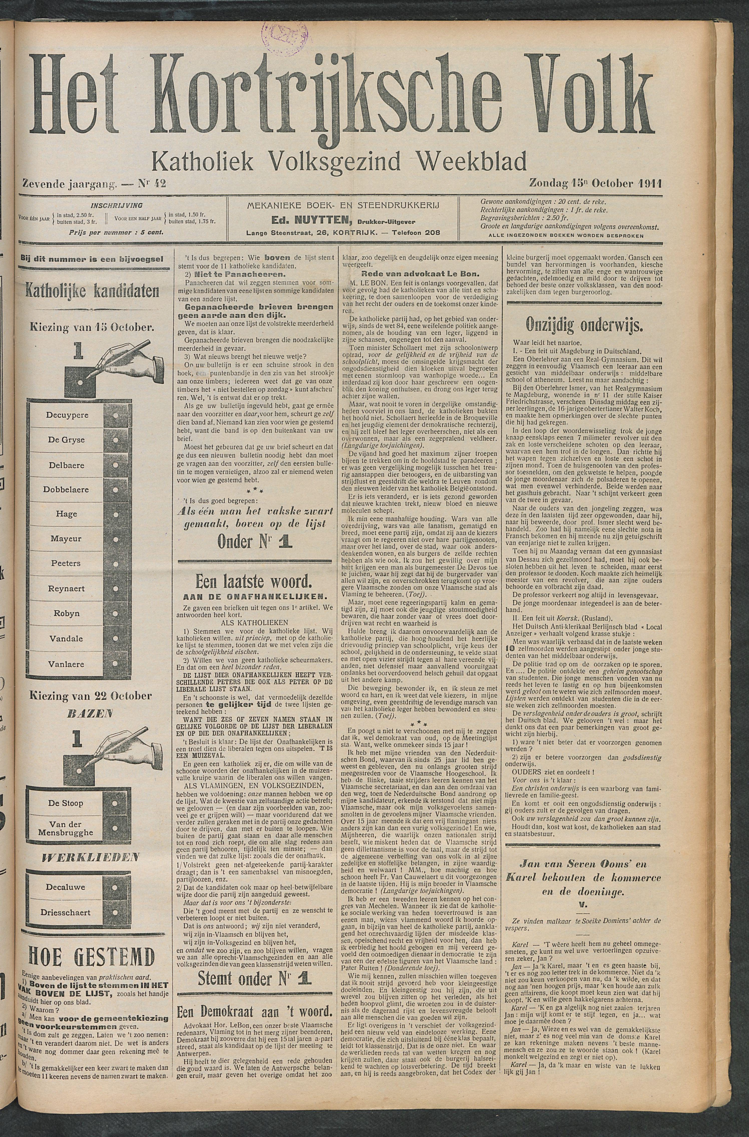 Het Kortrijksche Volk 1911-10-15 p1