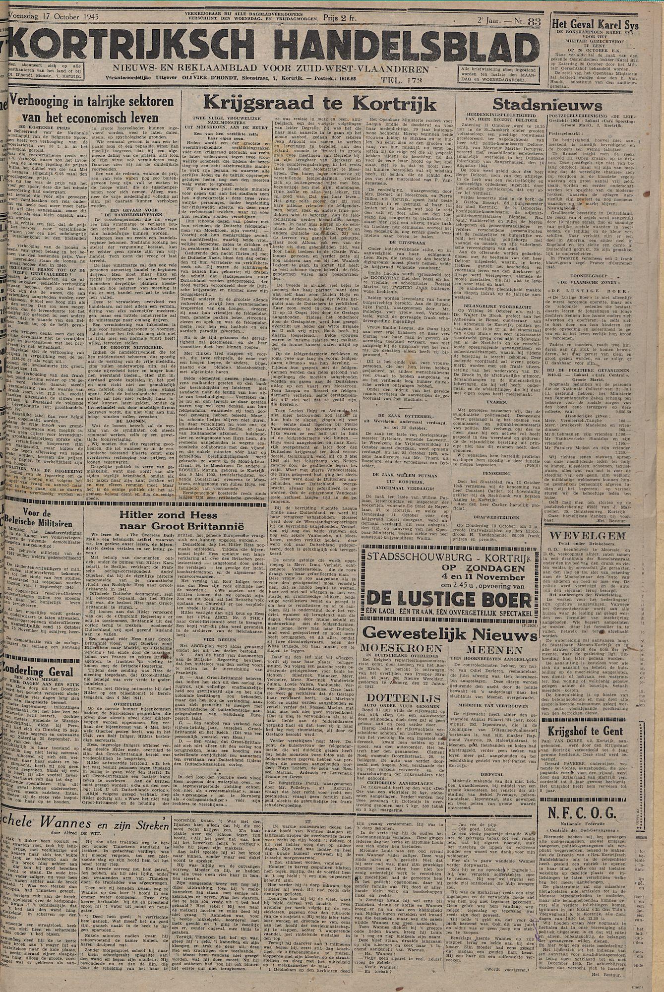Kortrijksch Handelsblad 17 october 1945 Nr83 p1