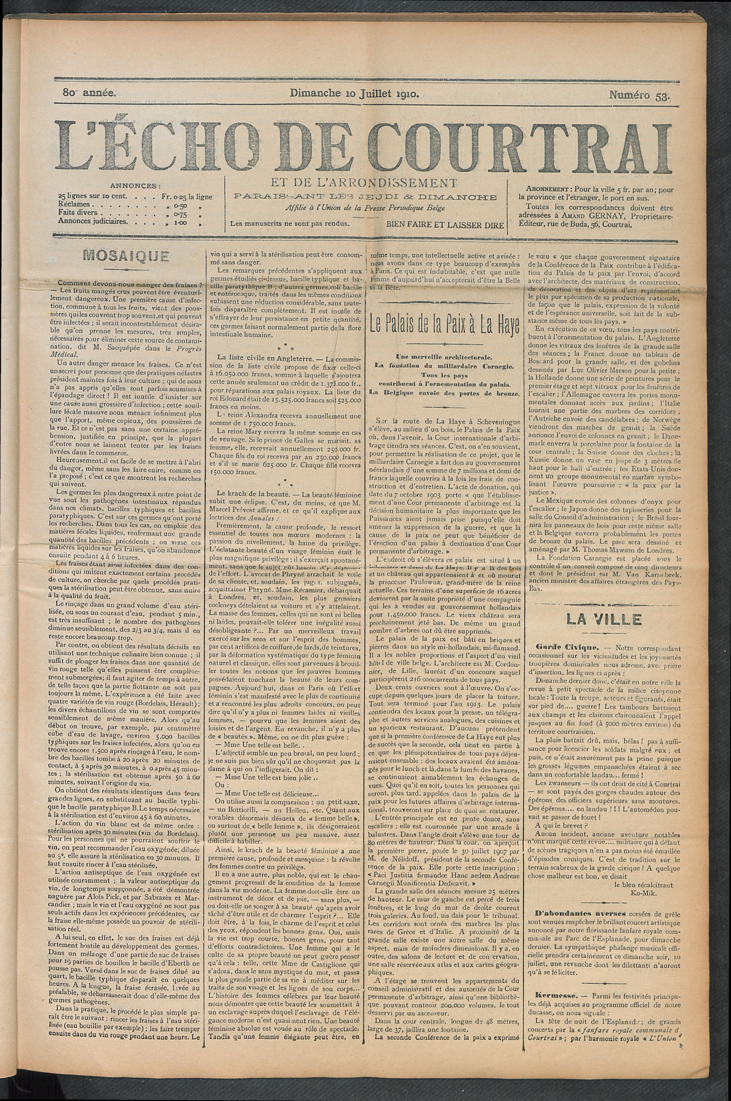 L'echo De Courtrai 1910-07-10 p1
