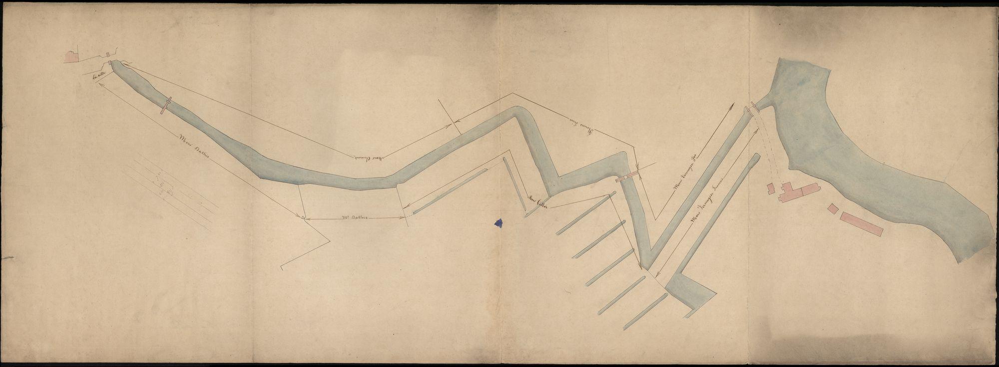 Plattegrond van het noordelijk deel van de stadswallen van Kortrijk tussen de Brugsepoort en de Leie, 19de eeuw