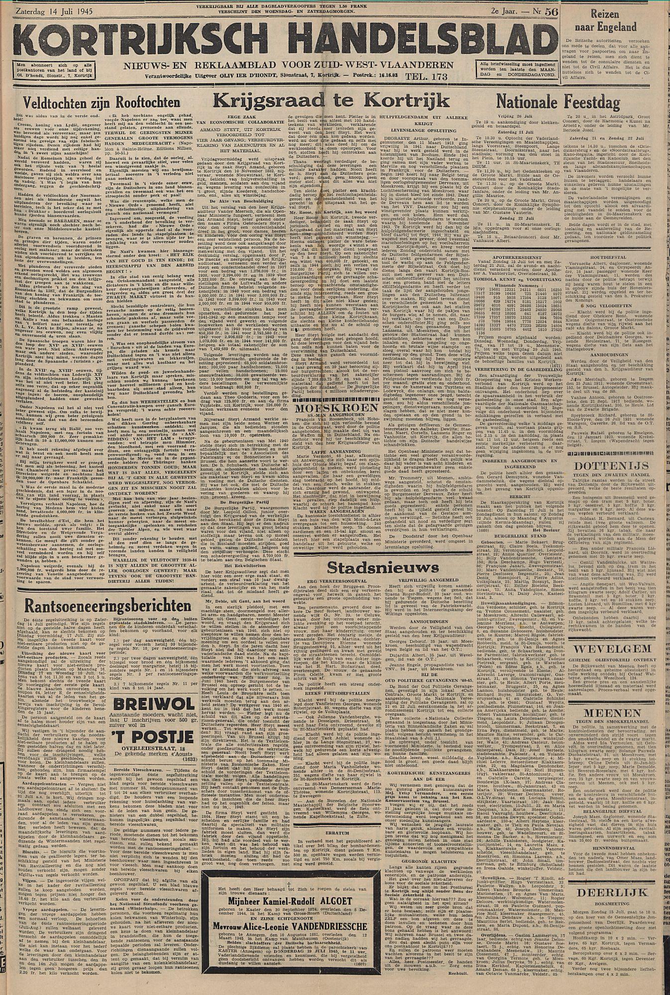 Kortrijksch Handelsblad 14 juli 1945 Nr56 p1