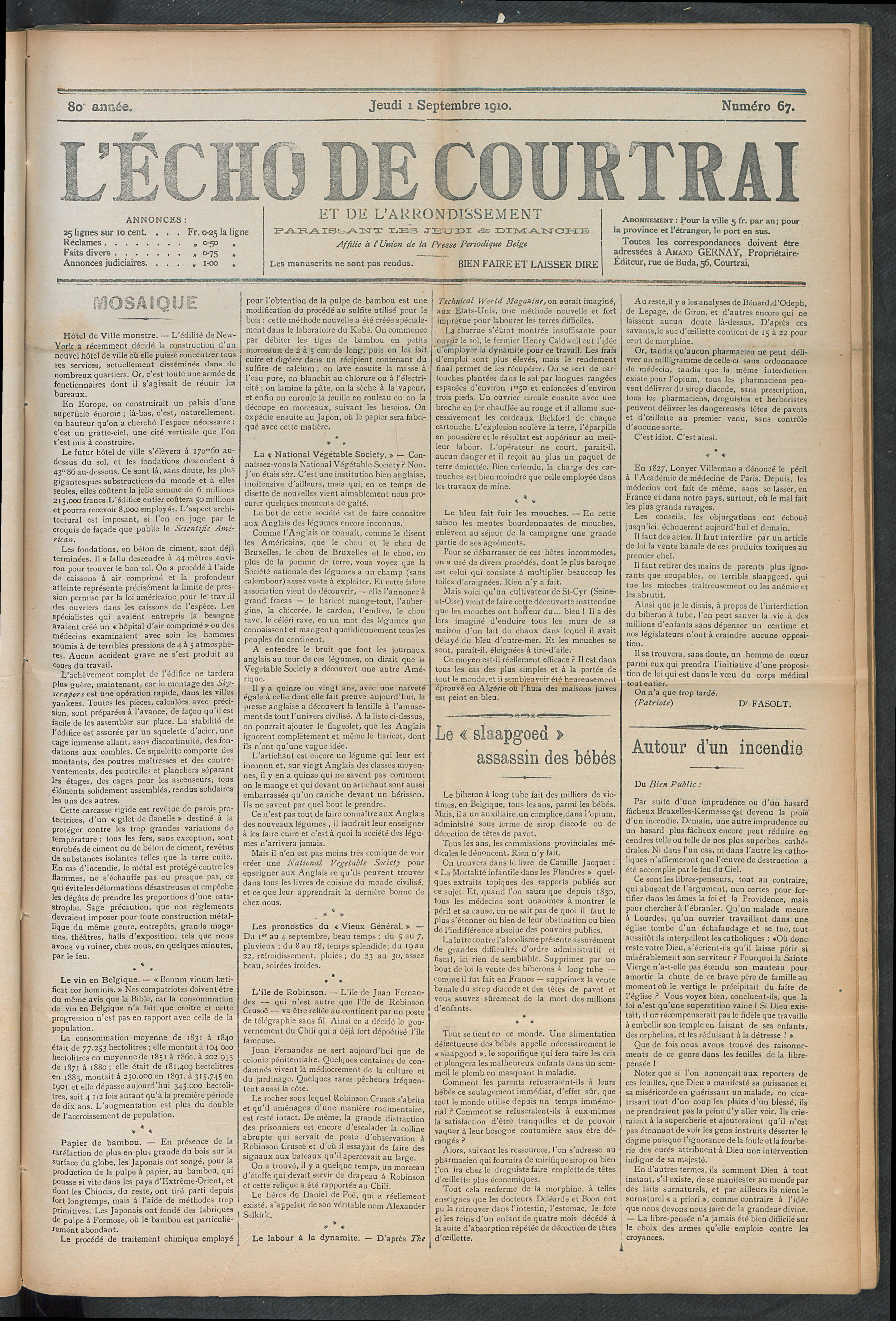 L'echo De Courtrai 1910-09-01 p1