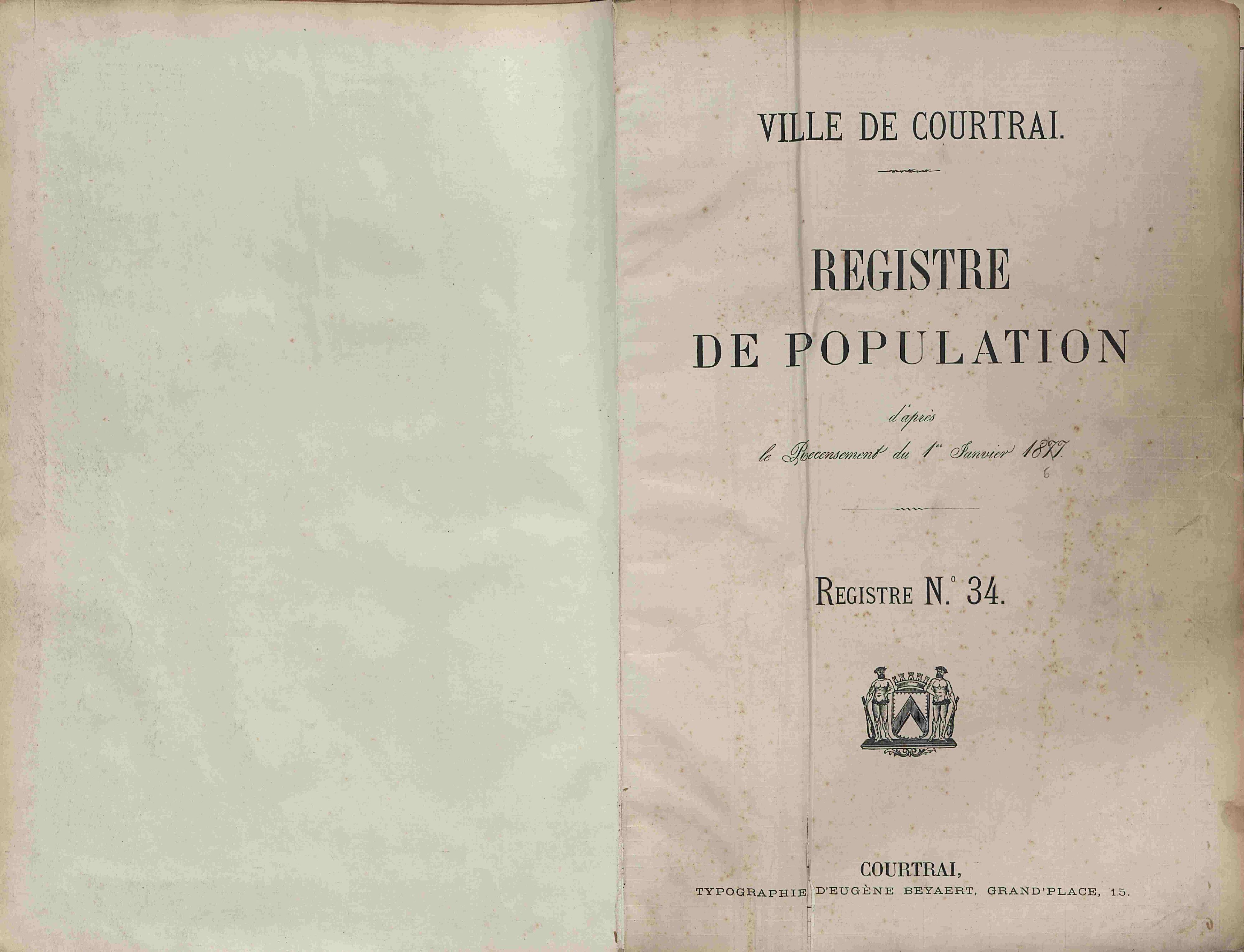 Bevolkingsregister Kortrijk 1866 boek 34