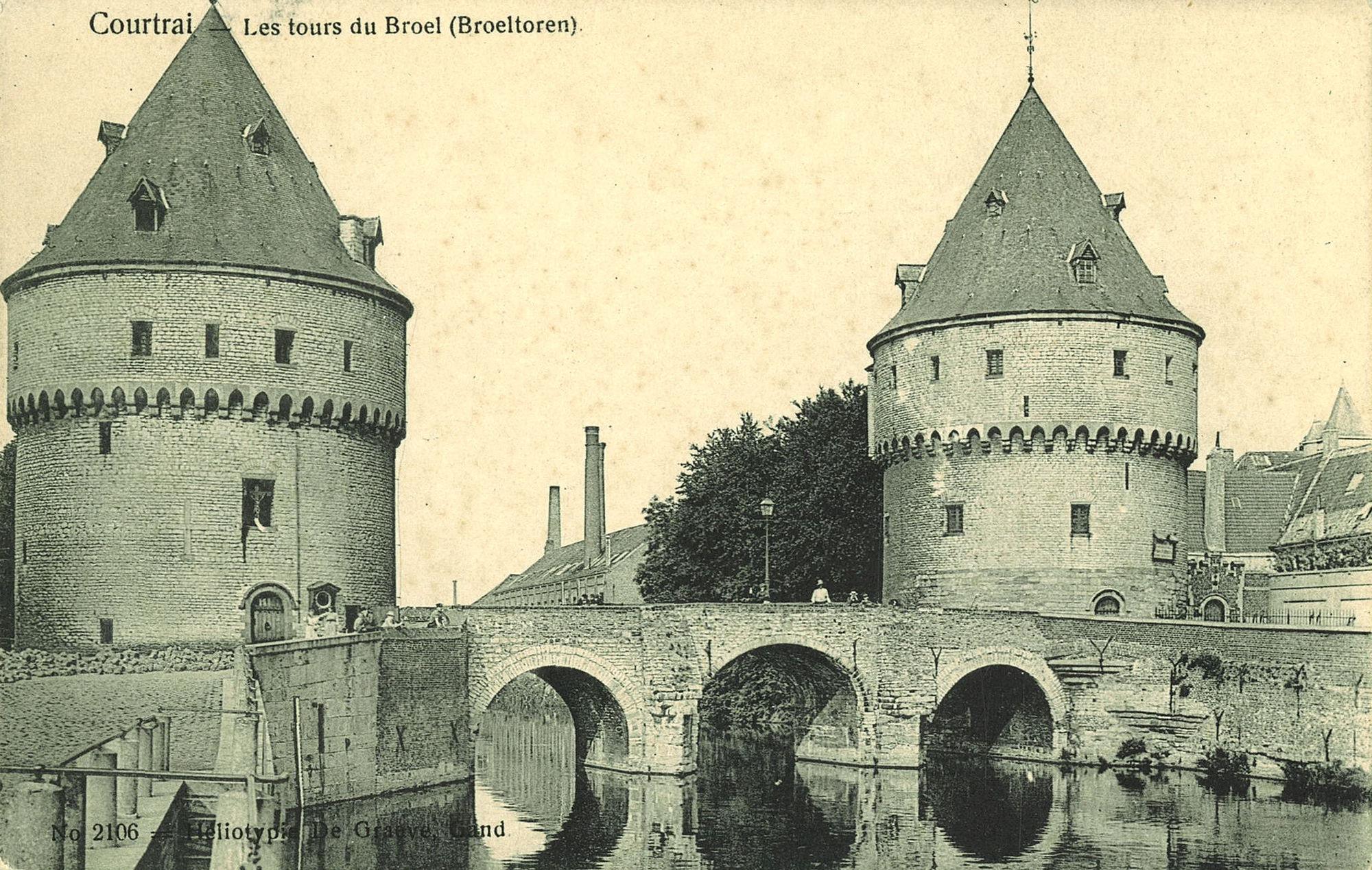De Leie met Broeltorens en Broelbrug