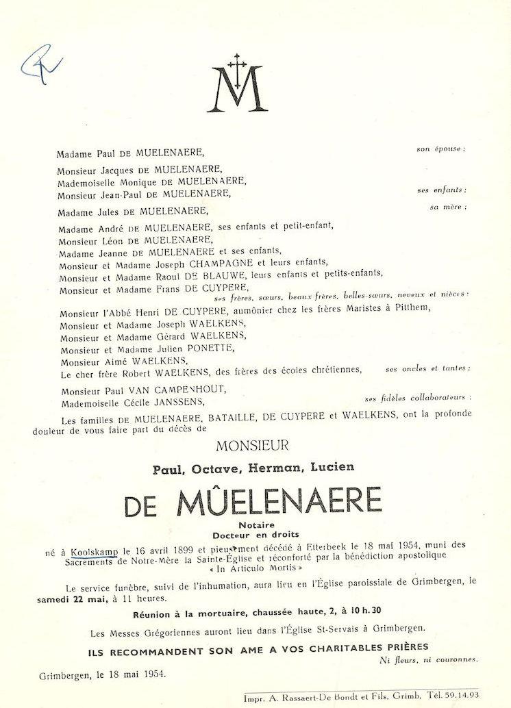 Paul Octave Herman Lucien de Mûelenaere