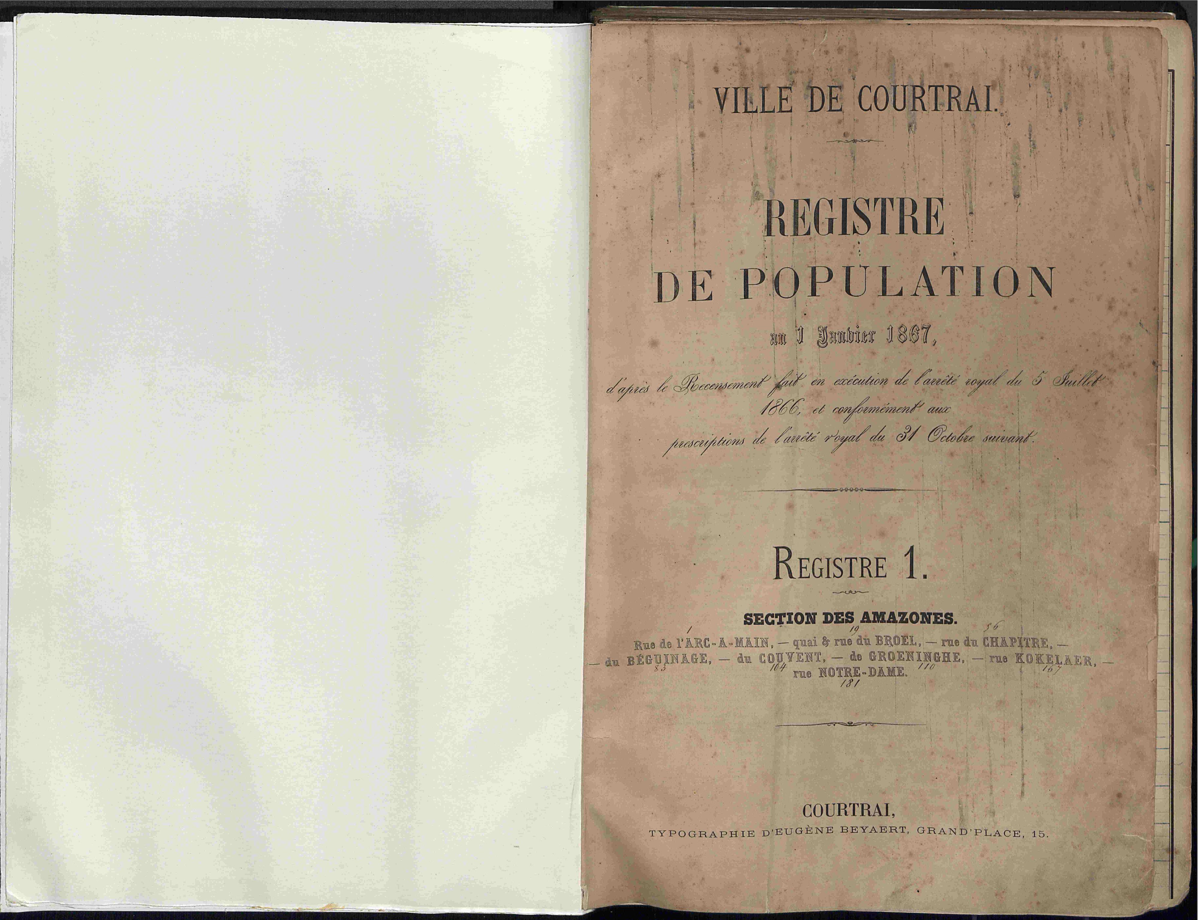 Bevolkingsregister Kortrijk 1866 boek 1