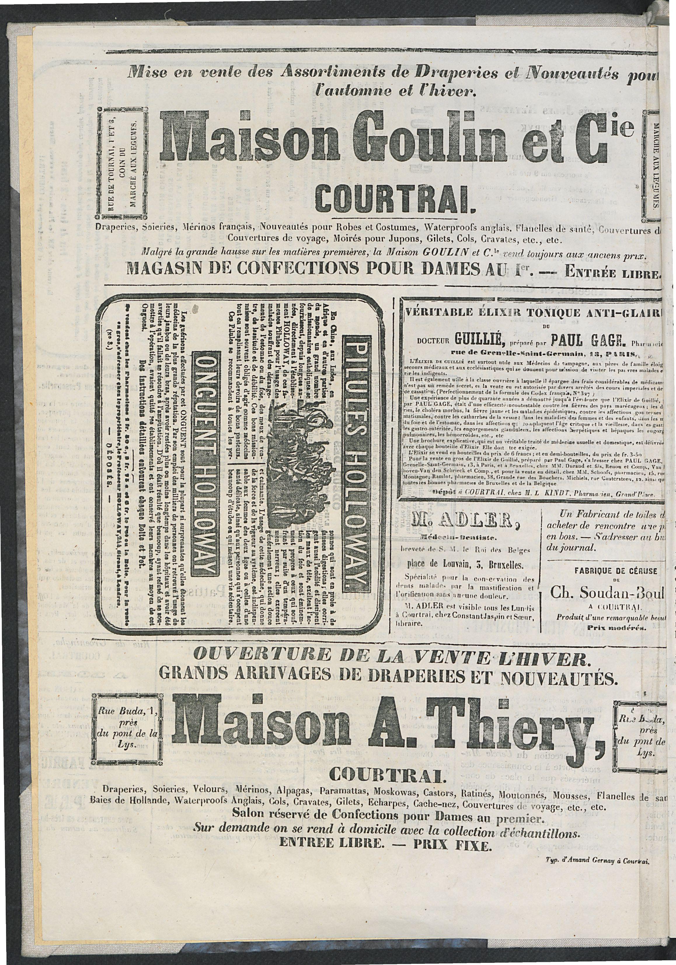 L'echo De Courtrai 1873-01-01 p4