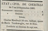 ÉTAT-CIVIL DE COURTRAI
