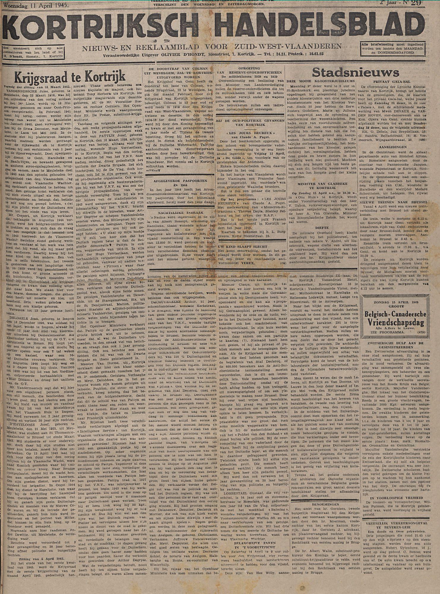 Kortrijksch Handelsblad 11 april 1945 Nr29 p1