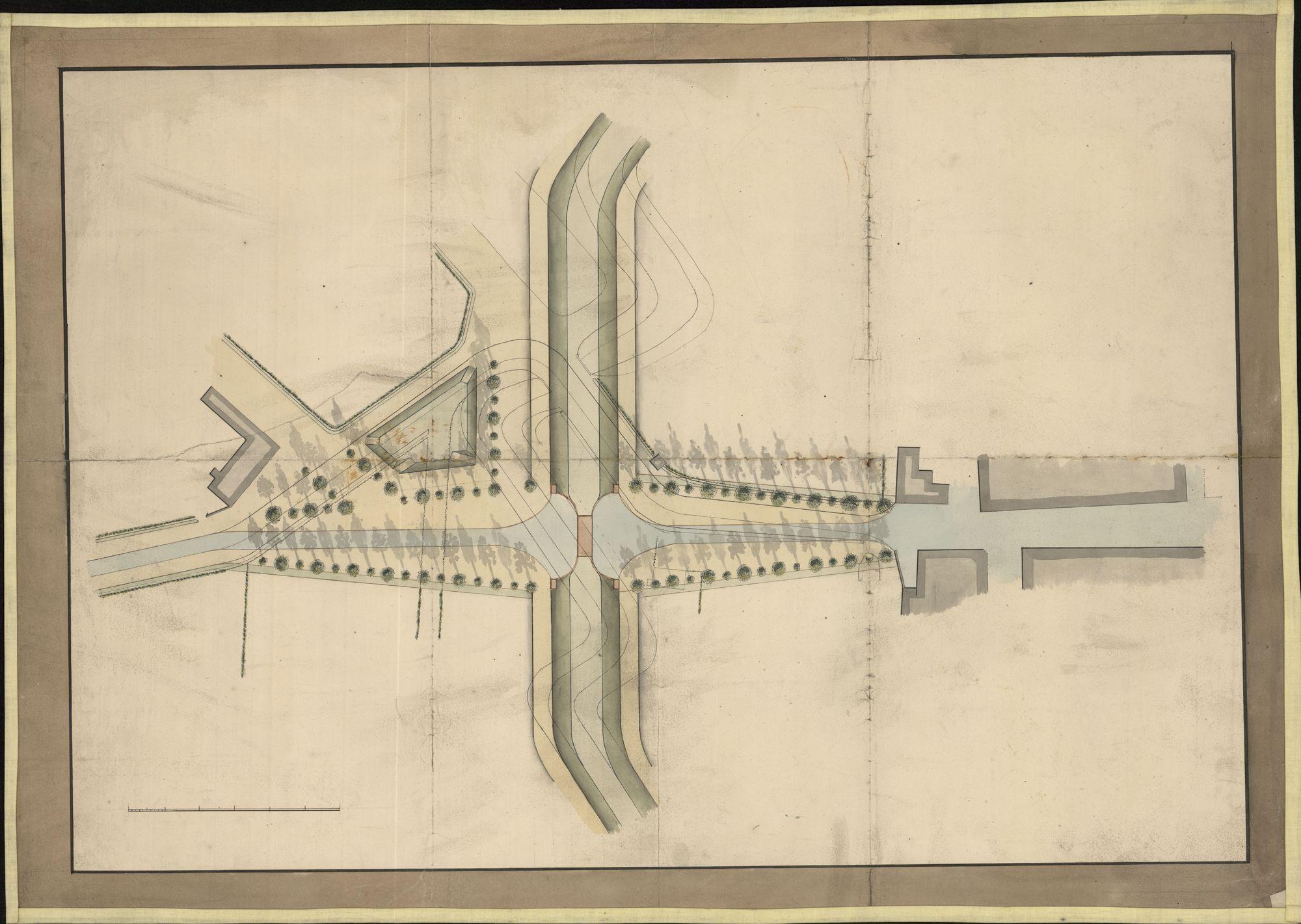 Bouwplan met ontwerp i.v.m. de herinrichting van een brug en weg te Kortrijk (?), 19de eeuw