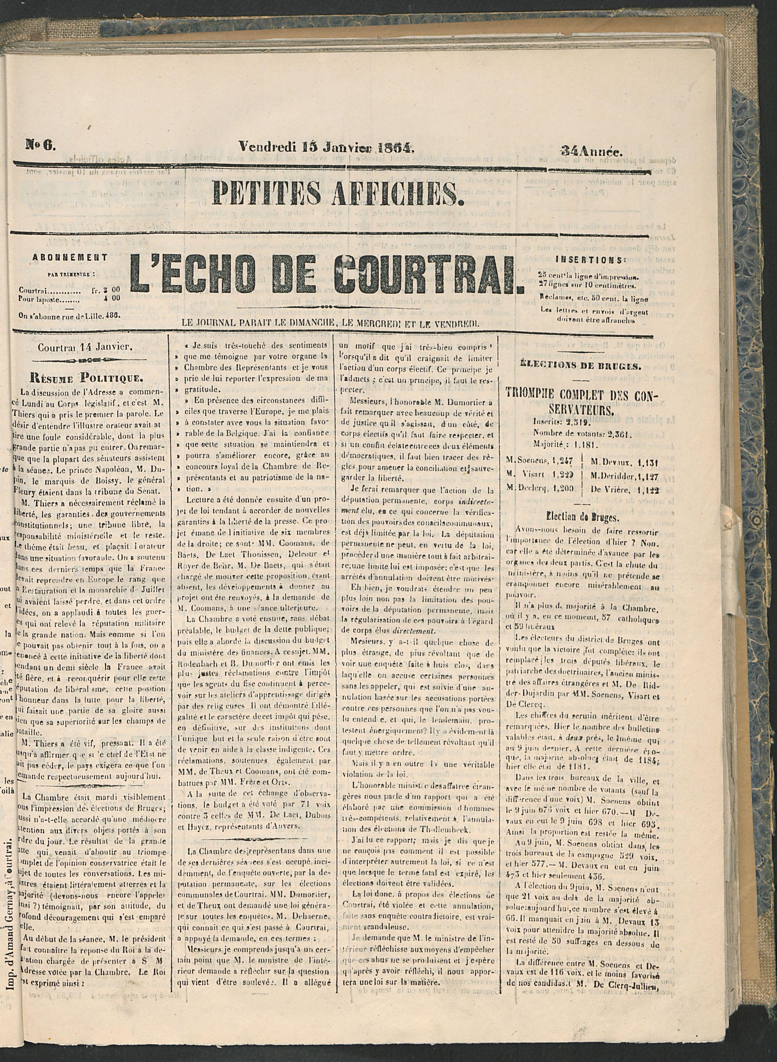 L'echo De Courtrai 1864-01-15 p1