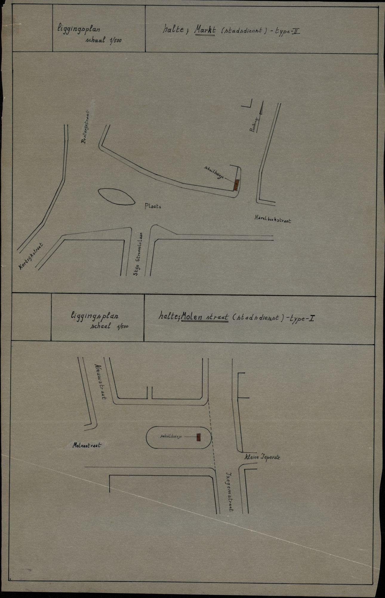 Plan van de bushaltes Markt en Molenstraat in Heule, 2de helft 20ste eeuw