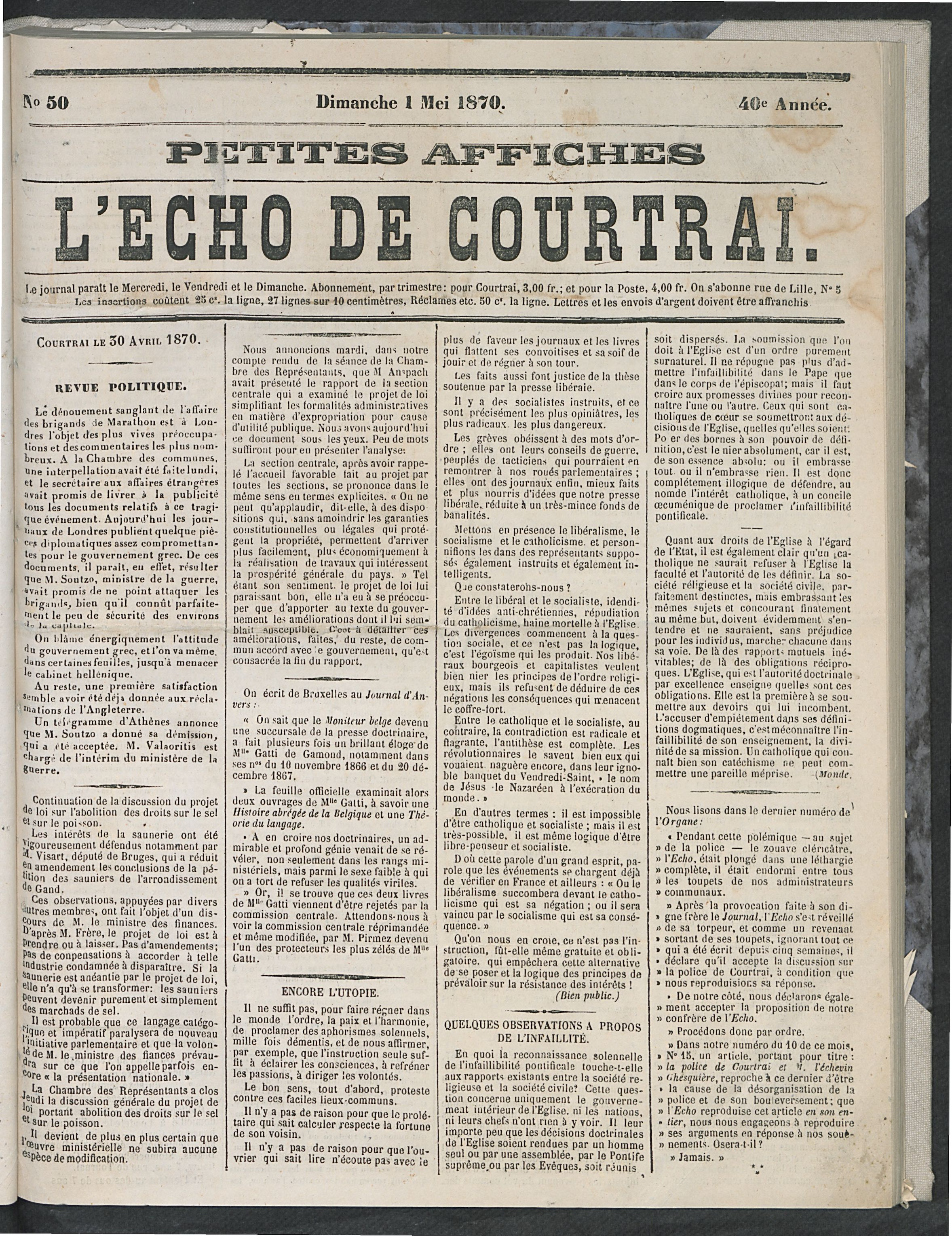 L'echo De Courtrai 1870-05-01 p1