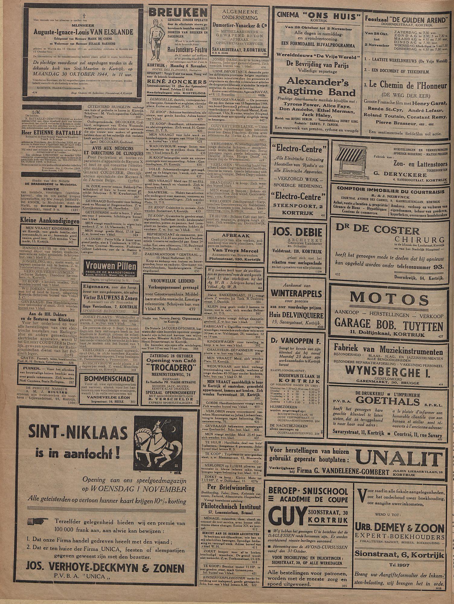 Kortrijksch Handelsblad 3 november 1944 Nr7 p2
