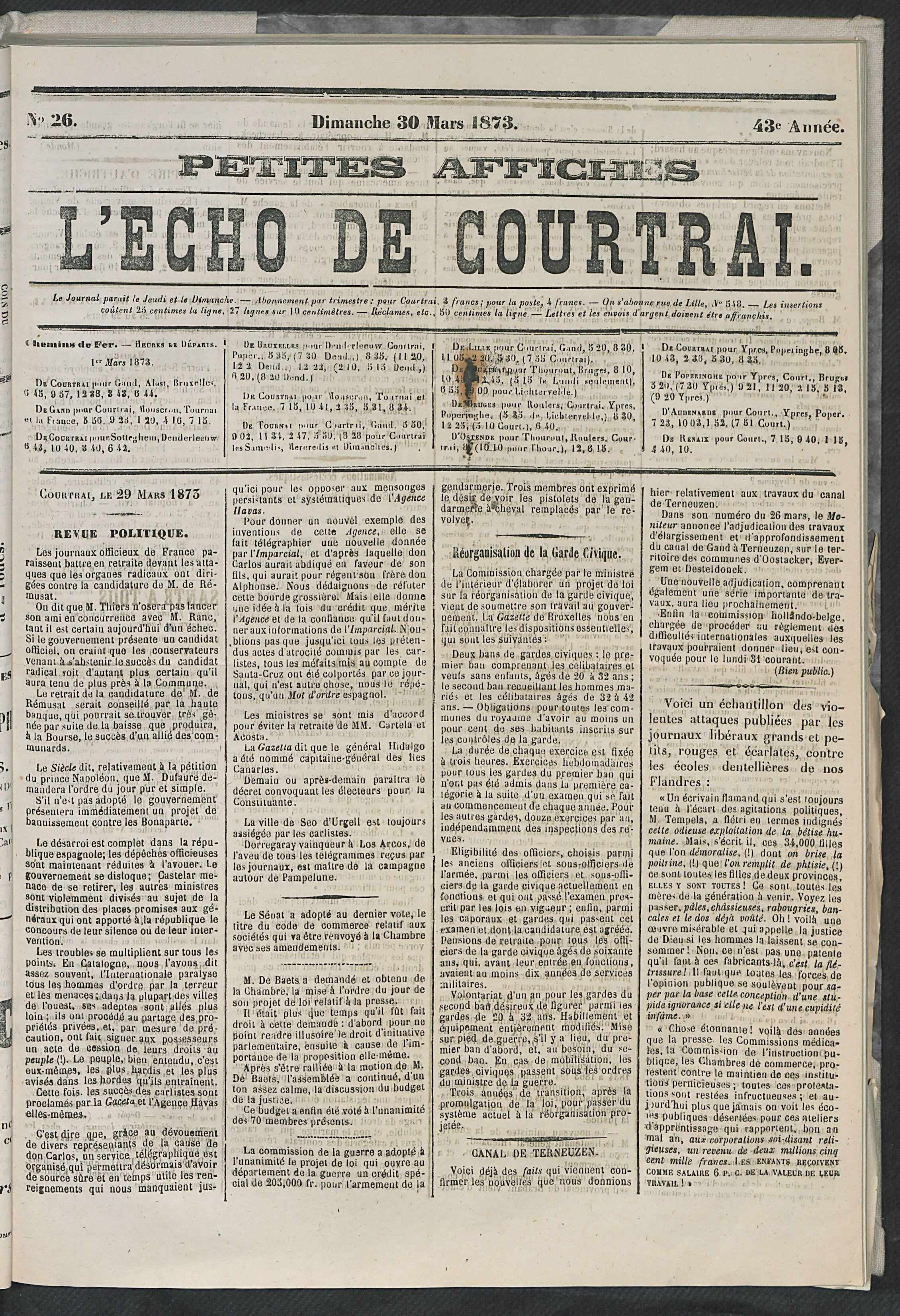 L'echo De Courtrai 1873-03-30 p1