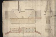 Bouwplan met vooraanzicht, plattegrond en dwarsdoorsnede van een te bouwen kofferdam op de stadsgracht nabij de Sint-Amandsproosdij te Kortrijk, opgemaakt door C. Tant, 1824
