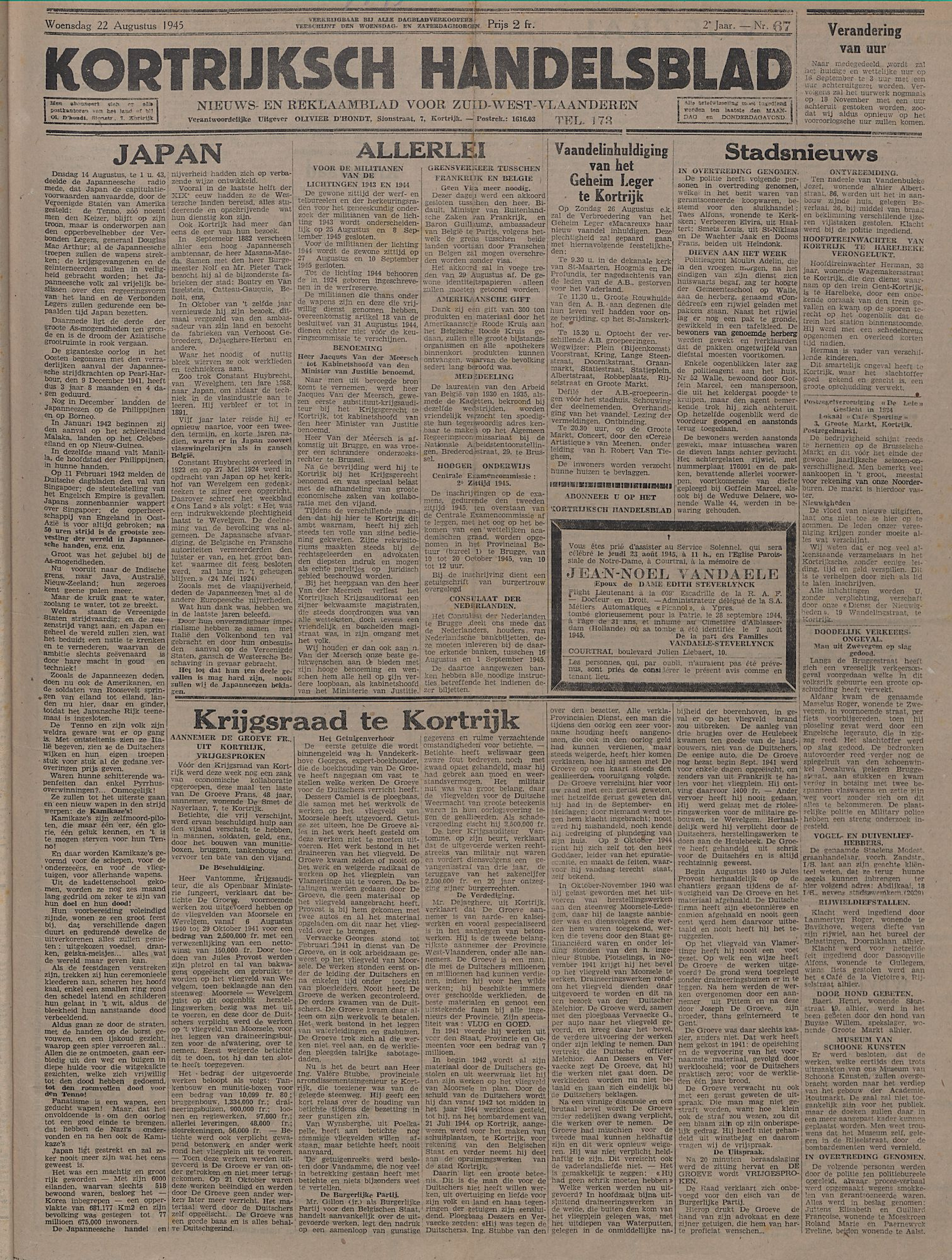 Kortrijksch Handelsblad 22 augustus 1945 Nr67 p1