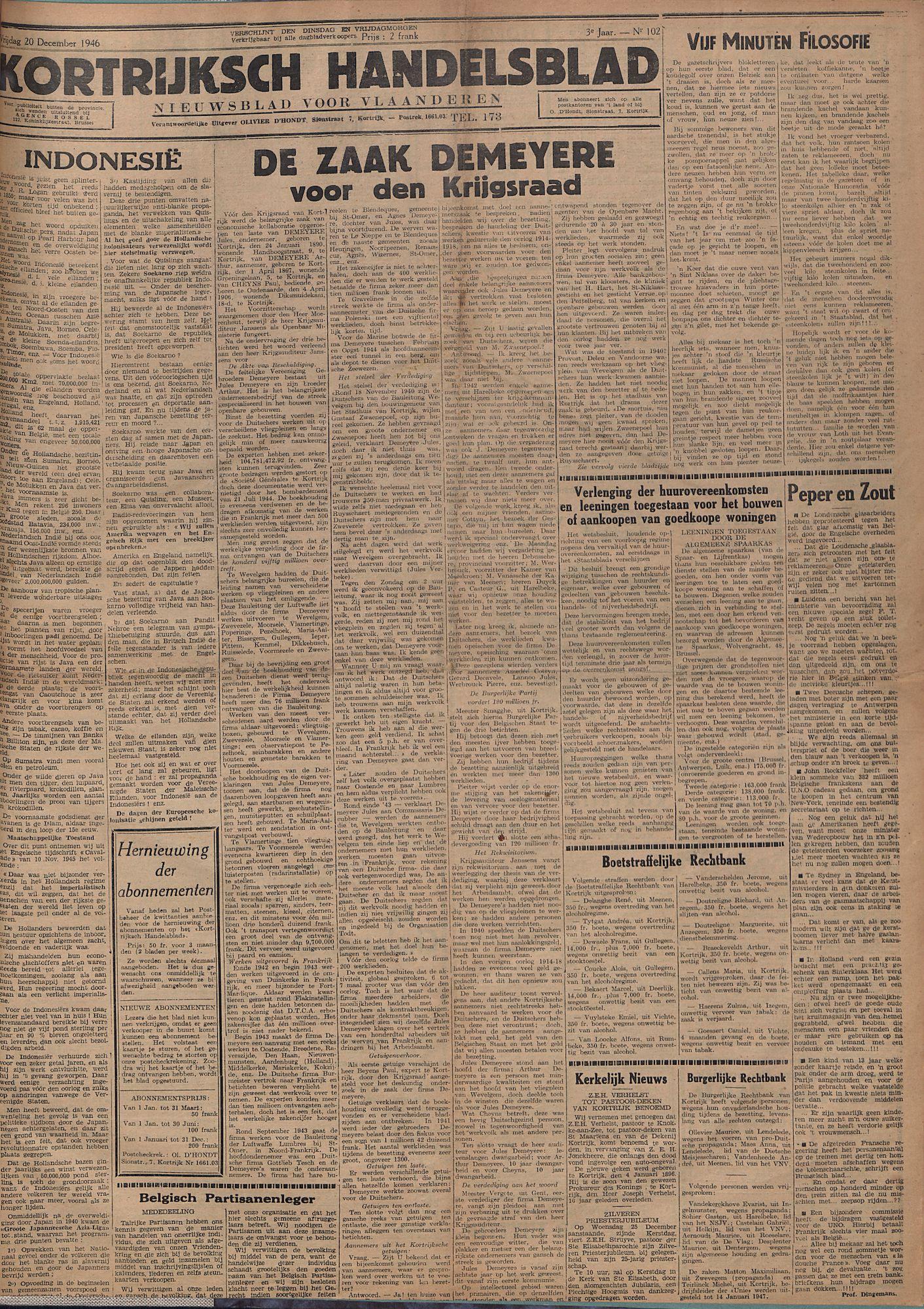 Kortrijksch Handelsblad 20 december 1946 Nr102 p1