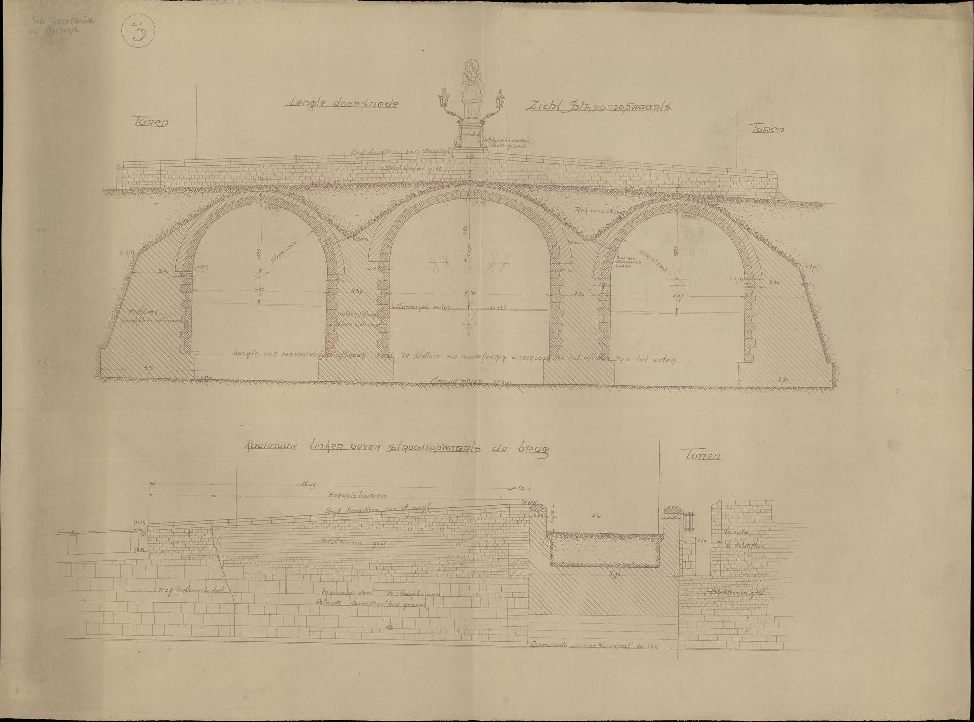 Plattegronden i.v.m. het heropbouwen van de Broelbrug te Kortrijk vernield door oorlogsfeiten, 1941